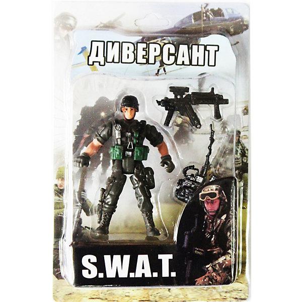 Фигурка Диверсант. Отряд SWATСолдатики, люди и рыцари<br>Все мальчишки любят играть в войн и солдатиков, а когда это бойцы спецподразделения SWAT (Special Weapons and Tactics), игра становится еще более интересной. Цель бойцов спецназа - обеспечение огневой мощи в ходе специальных операций в ситуациях, характеризующихся высокой степенью риска, где специальная тактика необходима для минимизации потерь.<br>Диверсант - боец спецподразделения, осуществляющий скрытую подготовку и реализацию уничтожения важных объектов командной и снабженческой структуры.<br><br>Дополнительная информация:<br><br>- высота: около 10 см<br>- у фигурки подвижные руки и ноги<br>- размер упаковки: 14 х 20 х 4 см<br>- материал: пластик<br>- в комплекте аксессуары: рация и автомат<br><br>Фигурку  Диверсанта. Отряд SWAT можно купить в нашем магазине.<br><br>Ширина мм: 40<br>Глубина мм: 140<br>Высота мм: 200<br>Вес г: 200<br>Возраст от месяцев: 36<br>Возраст до месяцев: 120<br>Пол: Мужской<br>Возраст: Детский<br>SKU: 3730514