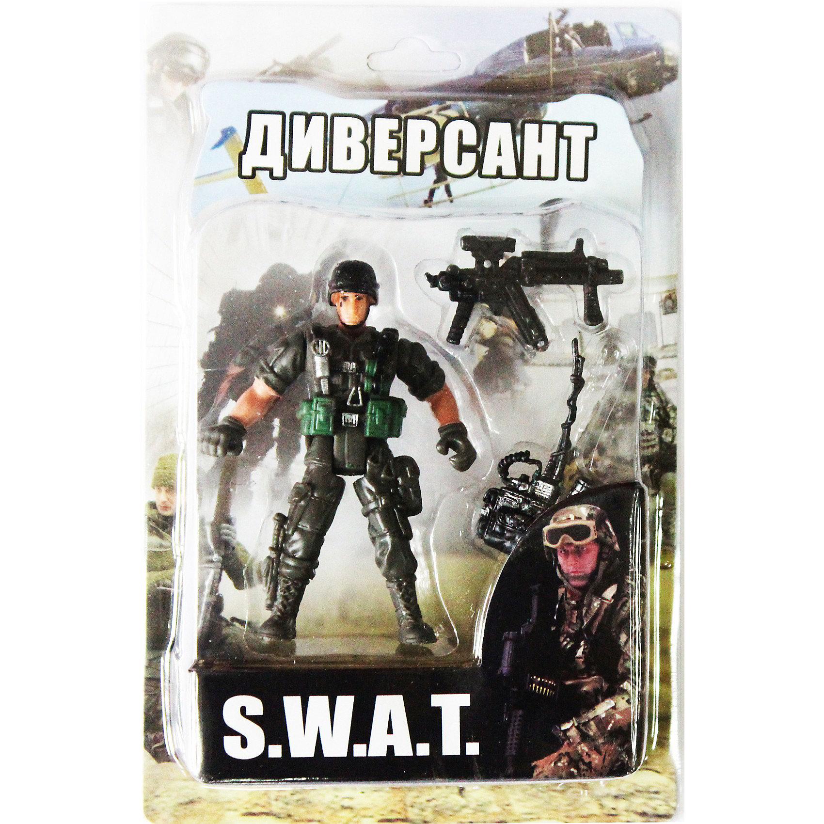 Фигурка Диверсант. Отряд SWATСолдатики и рыцари<br>Все мальчишки любят играть в войн и солдатиков, а когда это бойцы спецподразделения SWAT (Special Weapons and Tactics), игра становится еще более интересной. Цель бойцов спецназа - обеспечение огневой мощи в ходе специальных операций в ситуациях, характеризующихся высокой степенью риска, где специальная тактика необходима для минимизации потерь.<br>Диверсант - боец спецподразделения, осуществляющий скрытую подготовку и реализацию уничтожения важных объектов командной и снабженческой структуры.<br><br>Дополнительная информация:<br><br>- высота: около 10 см<br>- у фигурки подвижные руки и ноги<br>- размер упаковки: 14 х 20 х 4 см<br>- материал: пластик<br>- в комплекте аксессуары: рация и автомат<br><br>Фигурку  Диверсанта. Отряд SWAT можно купить в нашем магазине.<br><br>Ширина мм: 40<br>Глубина мм: 140<br>Высота мм: 200<br>Вес г: 200<br>Возраст от месяцев: 36<br>Возраст до месяцев: 120<br>Пол: Мужской<br>Возраст: Детский<br>SKU: 3730514