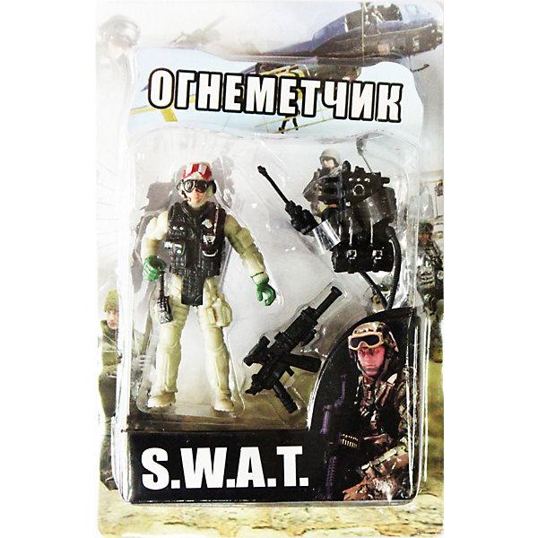 Фигурка Огнеметчик. Отряд SWATСолдатики, люди и рыцари<br>Все мальчишки любят играть в войн и солдатиков, а когда это бойцы спецподразделения SWAT (Special Weapons and Tactics), игра становится еще более интересной. Цель бойцов спецназа - обеспечение огневой мощи в ходе специальных операций в ситуациях, характеризующихся высокой степенью риска, где специальная тактика необходима для минимизации потерь.<br>Задача огнеметчика - ведение боевых действий по уничтожению огнём живой силы противника, боевой техники, инженерных сооружений и транспортных средств на поле боя и в тылу противника, а также создание пожаров и постановка дымовых завес.<br><br>Дополнительная информация:<br><br>- высота: около 10 см<br>- у фигурки подвижные руки и ноги<br>- размер упаковки: 14 х 20 х 4 см<br>- материал: пластик<br>- в комплекте аксессуары: ранцевый огнемет и автомат<br><br>Фигурку Огнеметчика. Отряд SWAT  можно купить в нашем магазине.<br><br>Ширина мм: 40<br>Глубина мм: 140<br>Высота мм: 200<br>Вес г: 200<br>Возраст от месяцев: 36<br>Возраст до месяцев: 120<br>Пол: Мужской<br>Возраст: Детский<br>SKU: 3730515