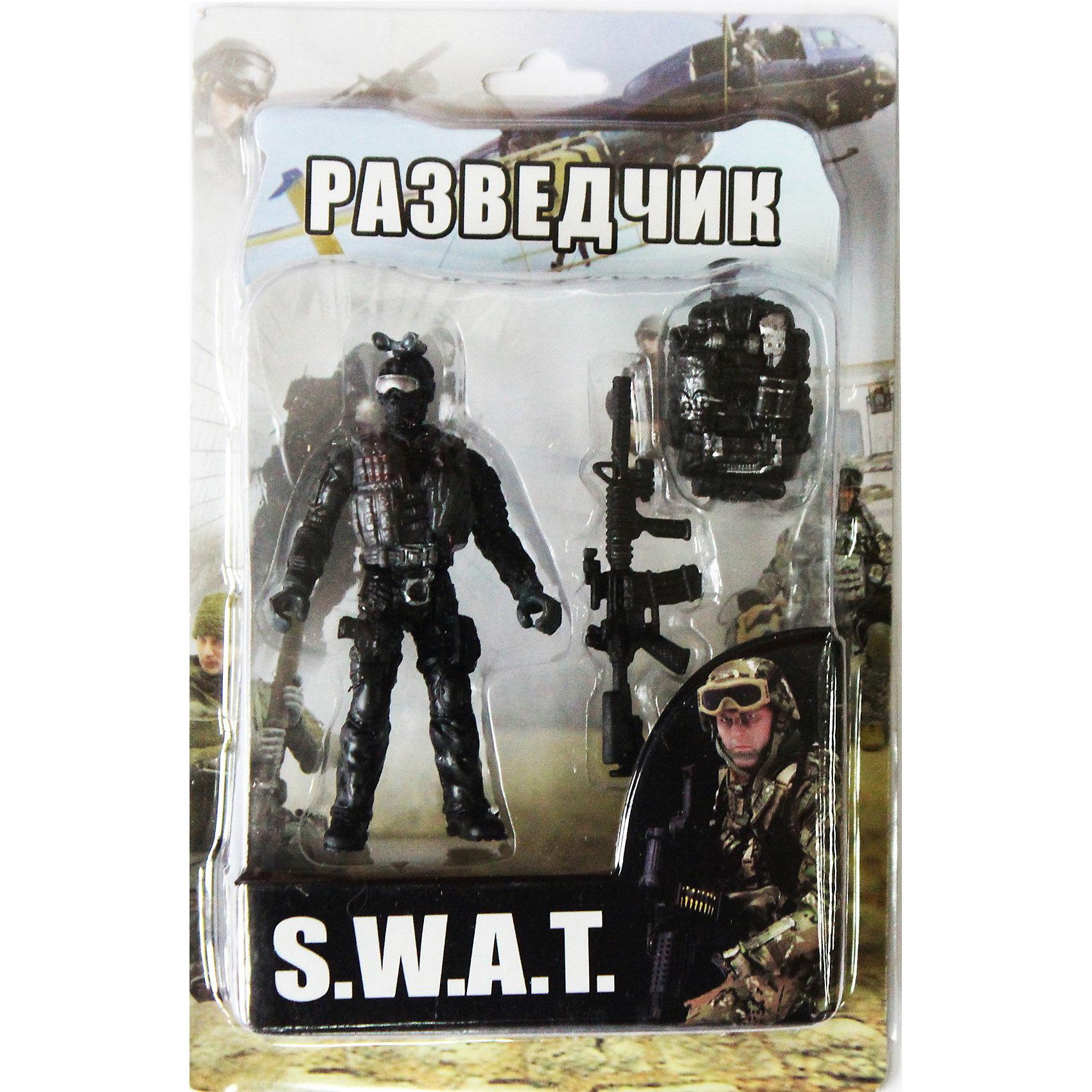 Фигурка Разведчик. Отряд SWATСолдатики и рыцари<br>Все мальчишки любят играть в войн и солдатиков, а когда это бойцы спецподразделения SWAT (Special Weapons and Tactics), игра становится еще более интересной. Цель бойцов спецназа - обеспечение огневой мощи в ходе специальных операций в ситуациях, характеризующихся высокой степенью риска, где специальная тактика необходима для минимизации потерь.<br>Разведчик проводит работу по получению и обработке данных о действующем или вероятном противнике, его военных ресурсах, боевых возможностях и уязвимости, а также о театре военных действий.<br><br>Дополнительная информация:<br><br>- высота: около 10 см<br>- у фигурки подвижные руки и ноги<br>- размер упаковки: 14 х 20 х 4 см<br>- материал: пластик<br>- в комплекте аксессуары: винтовка и рюкзак-разгрузка<br><br>Фигурку  Разведчика. Отряд SWAT  можно купить в нашем магазине.<br><br>Ширина мм: 40<br>Глубина мм: 140<br>Высота мм: 200<br>Вес г: 200<br>Возраст от месяцев: 36<br>Возраст до месяцев: 120<br>Пол: Мужской<br>Возраст: Детский<br>SKU: 3730516