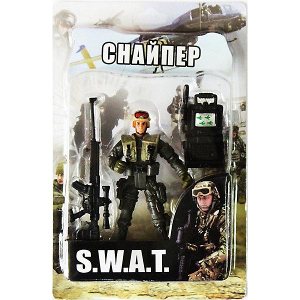 Фигурка Снайпер. Отряд SWATСолдатики, люди и рыцари<br>Все мальчишки любят играть в войн и солдатиков, а когда это бойцы спецподразделения SWAT (Special Weapons and Tactics), игра становится еще более интересной. Цель бойцов спецназа - обеспечение огневой мощи в ходе специальных операций в ситуациях, характеризующихся высокой степенью риска, где специальная тактика необходима для минимизации потерь.<br>Снайпер - специально обученный боец, который в совершенстве владеет искусством меткой стрельбы, маскировки и наблюдения. Снайпер обычно поражает цель с первого выстрела.<br><br>Дополнительная информация:<br><br>- высота: около 10 см<br>- у фигурки подвижные руки и ноги<br>- размер упаковки: 14 х 20 х 4 см<br>- материал: пластик<br>- в комплекте аксессуары: ноутбук и снайперская винтовка<br><br>Фигурку   Снайпера. Отряд SWAT можно купить в нашем магазине.<br><br>Ширина мм: 40<br>Глубина мм: 140<br>Высота мм: 200<br>Вес г: 200<br>Возраст от месяцев: 36<br>Возраст до месяцев: 120<br>Пол: Мужской<br>Возраст: Детский<br>SKU: 3730517
