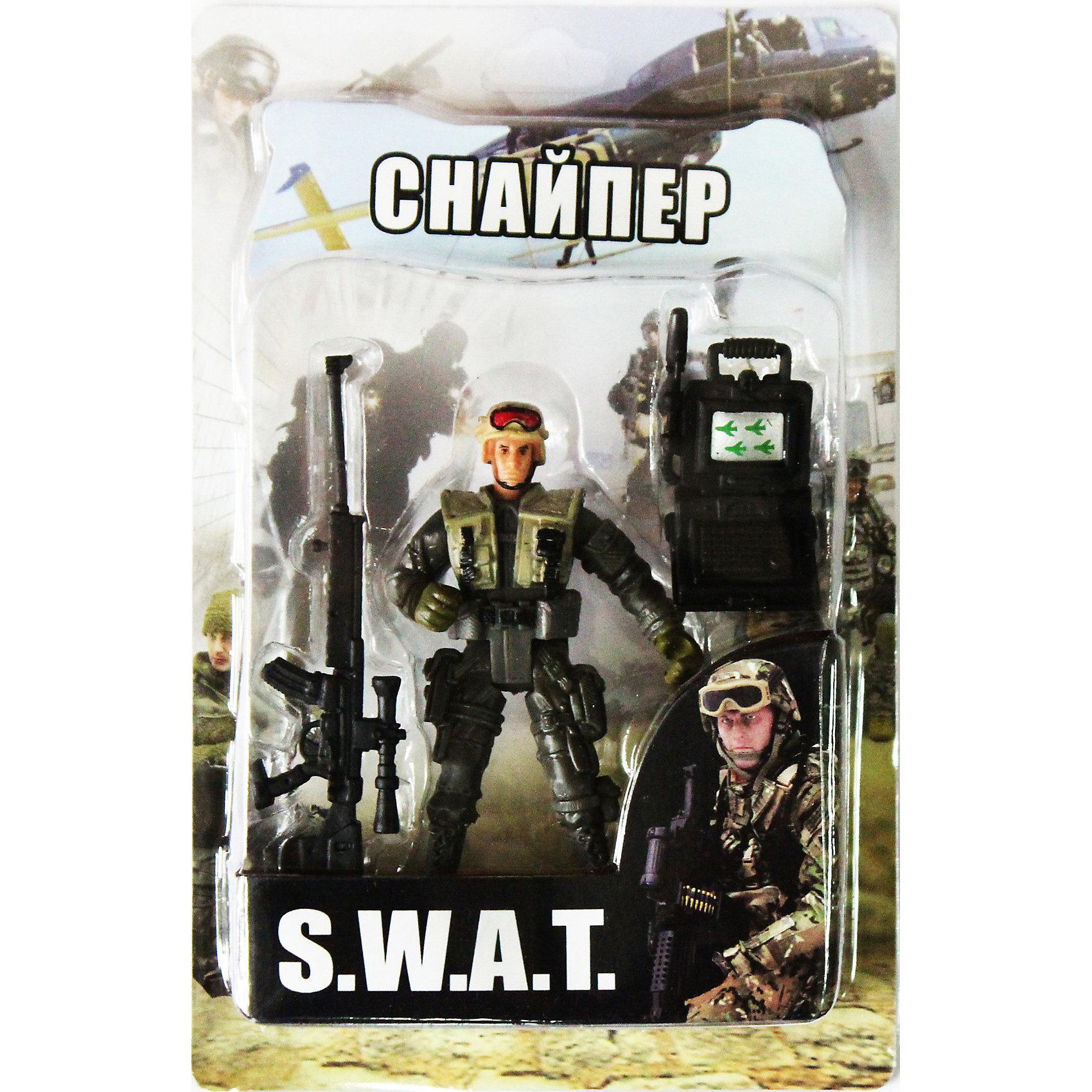 Фигурка Снайпер. Отряд SWATСолдатики и рыцари<br>Все мальчишки любят играть в войн и солдатиков, а когда это бойцы спецподразделения SWAT (Special Weapons and Tactics), игра становится еще более интересной. Цель бойцов спецназа - обеспечение огневой мощи в ходе специальных операций в ситуациях, характеризующихся высокой степенью риска, где специальная тактика необходима для минимизации потерь.<br>Снайпер - специально обученный боец, который в совершенстве владеет искусством меткой стрельбы, маскировки и наблюдения. Снайпер обычно поражает цель с первого выстрела.<br><br>Дополнительная информация:<br><br>- высота: около 10 см<br>- у фигурки подвижные руки и ноги<br>- размер упаковки: 14 х 20 х 4 см<br>- материал: пластик<br>- в комплекте аксессуары: ноутбук и снайперская винтовка<br><br>Фигурку   Снайпера. Отряд SWAT можно купить в нашем магазине.<br><br>Ширина мм: 40<br>Глубина мм: 140<br>Высота мм: 200<br>Вес г: 200<br>Возраст от месяцев: 36<br>Возраст до месяцев: 120<br>Пол: Мужской<br>Возраст: Детский<br>SKU: 3730517