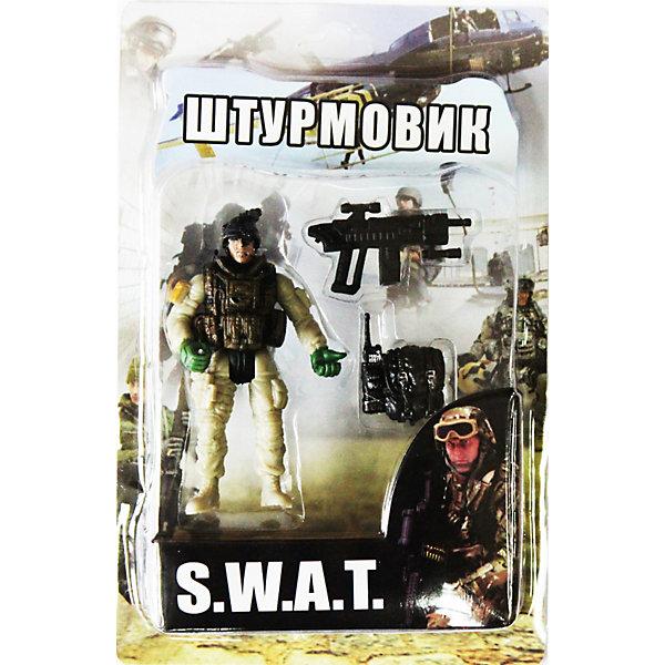 Фигурка Штурмовик. Отряд SWATСолдатики, люди и рыцари<br>Все мальчишки любят играть в войн и солдатиков, а когда это бойцы спецподразделения SWAT (Special Weapons and Tactics), игра становится еще более интересной. Цель бойцов спецназа - обеспечение огневой мощи в ходе специальных операций в ситуациях, характеризующихся высокой степенью риска, где специальная тактика необходима для минимизации потерь.<br>Штурмовик во время боя играет очень важную роль, которая заключается в обеспечении своих братьев по оружию патронами. Он может пополнять амуницию при помощи своего специального ящика, находящийся постоянно при нем.<br><br>Дополнительная информация:<br><br>- высота: около 10 см<br>- у фигурки подвижные руки и ноги<br>- размер упаковки: 14 х 20 х 4 см<br>- материал: пластик<br>- в комплекте аксессуары: рюкзак и автомат<br><br>Фигурку  Штурмовика. Отряд SWAT  можно купить в нашем магазине.<br><br>Ширина мм: 40<br>Глубина мм: 140<br>Высота мм: 200<br>Вес г: 200<br>Возраст от месяцев: 36<br>Возраст до месяцев: 120<br>Пол: Мужской<br>Возраст: Детский<br>SKU: 3730518