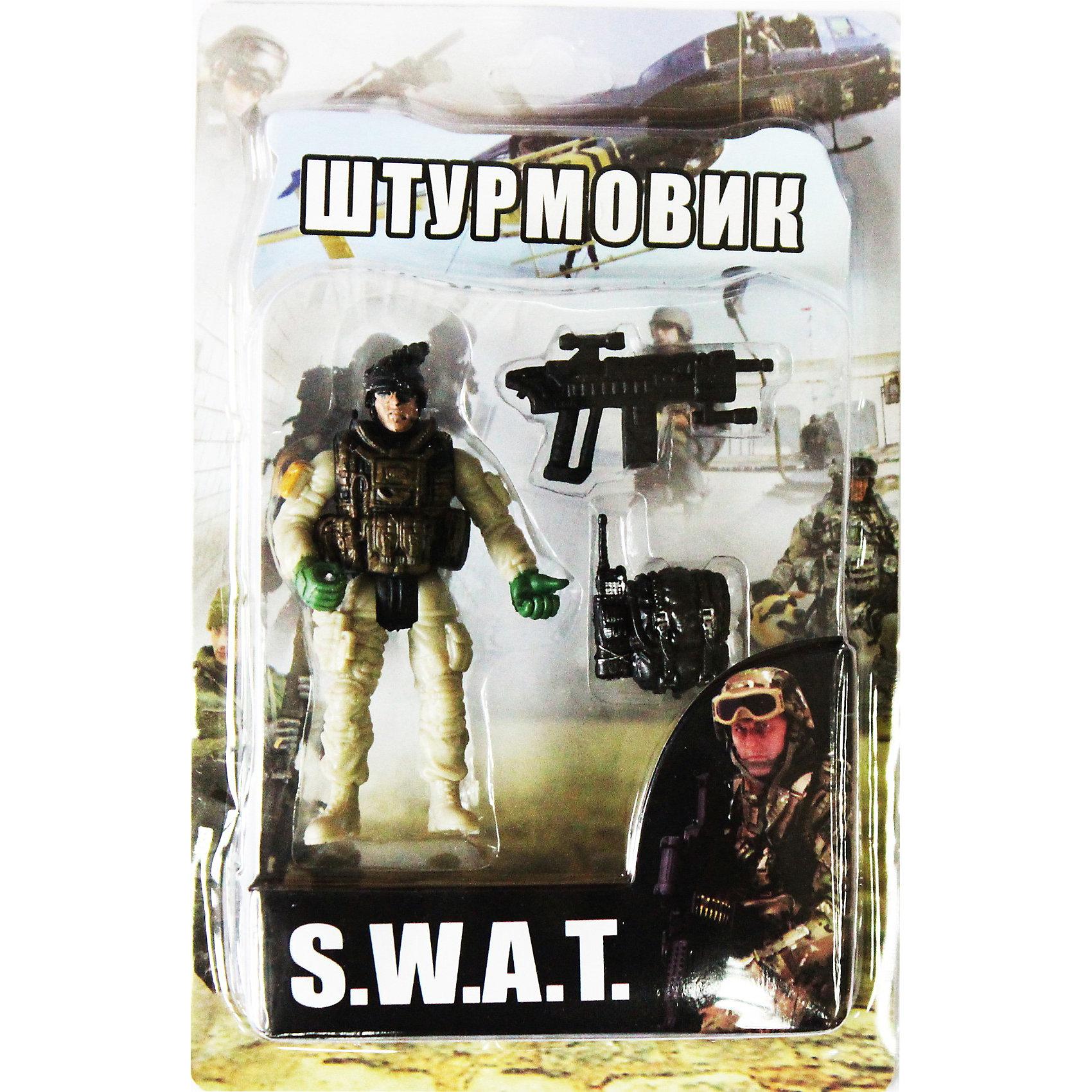 Фигурка Штурмовик. Отряд SWATСолдатики и рыцари<br>Все мальчишки любят играть в войн и солдатиков, а когда это бойцы спецподразделения SWAT (Special Weapons and Tactics), игра становится еще более интересной. Цель бойцов спецназа - обеспечение огневой мощи в ходе специальных операций в ситуациях, характеризующихся высокой степенью риска, где специальная тактика необходима для минимизации потерь.<br>Штурмовик во время боя играет очень важную роль, которая заключается в обеспечении своих братьев по оружию патронами. Он может пополнять амуницию при помощи своего специального ящика, находящийся постоянно при нем.<br><br>Дополнительная информация:<br><br>- высота: около 10 см<br>- у фигурки подвижные руки и ноги<br>- размер упаковки: 14 х 20 х 4 см<br>- материал: пластик<br>- в комплекте аксессуары: рюкзак и автомат<br><br>Фигурку  Штурмовика. Отряд SWAT  можно купить в нашем магазине.<br><br>Ширина мм: 40<br>Глубина мм: 140<br>Высота мм: 200<br>Вес г: 200<br>Возраст от месяцев: 36<br>Возраст до месяцев: 120<br>Пол: Мужской<br>Возраст: Детский<br>SKU: 3730518