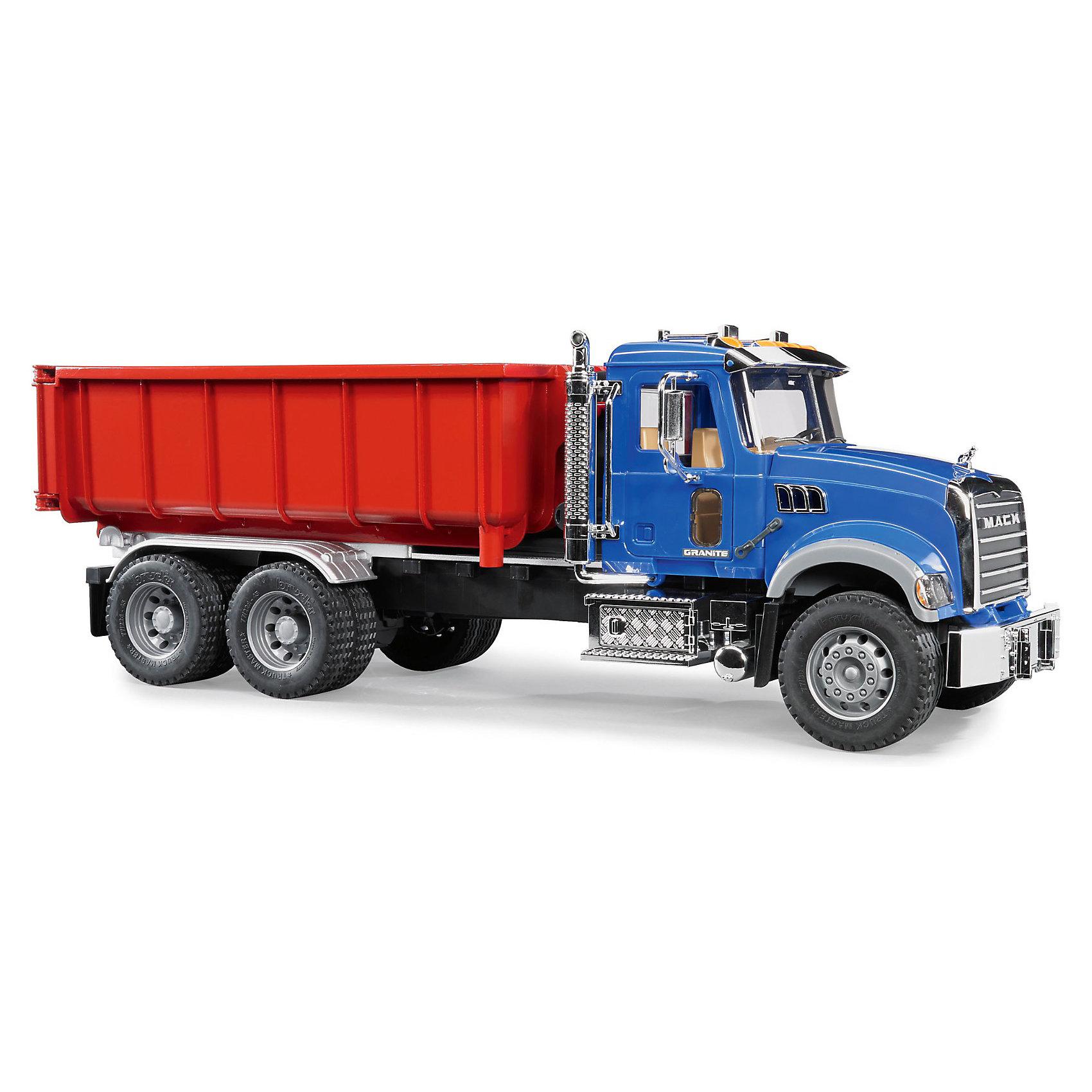 Самосвал-контейнеровоз MACK, BruderСамосвал-контейнеровоз MACK, Bruder (Брудер) – игрушка, выполненная в строгом соответствии и с соблюдением особенностей настоящей машины.<br>Сильный, мощный автомобиль на четырехосной основе для перевозки тяжелых грузов самосвал-контейнеровоз MACK от немецкого производителя игрушек Bruder (Брудер) в точности повторяет реально существующую машину. Все детали автомобиля специально сделаны так, что бы ребенок в процессе игры мог увидеть устройство настоящего автомобиля, принцип его работы. Насыщенные цвета, стилизованные под хром элементы (выхлопная труба, радиаторная решетка и другие) и функциональность этой игрушки приведут в восторг вашего ребенка. У машины открываются двери, складываются зеркала, поднимается капот, открывая доступ к двигателю. Лобовое стекло изготовлено из прочного прозрачного материала. Контейнер самосвала опрокидывается с помощью специального подъемного механизма. Задний борт контейнера открывается. Резиновые шины с красивым протектором, придают автомобилю больше мощности и привлекательности. К самосвалу подходит модуль со световыми и звуковыми эффектами H (не входит в комплект). Игрушка изготовлена из высококачественного пластика, устойчивого к износу и ударам. Продукция сертифицирована, экологически безопасна для ребенка, использованные красители не токсичны и гипоаллергенны.<br><br>Дополнительная информация:<br><br>- Размер машины: 60 х 18,5 х 20,7 см.<br>- Масштаб 1:16<br>- Материал: высококачественный пластик<br>- Цвет: синяя кабина, красный контейнер<br><br>Самосвал-контейнеровоз MACK, Bruder (Брудер) можно купить в нашем интернет-магазине.<br><br>Ширина мм: 641<br>Глубина мм: 230<br>Высота мм: 200<br>Вес г: 2201<br>Возраст от месяцев: 36<br>Возраст до месяцев: 96<br>Пол: Мужской<br>Возраст: Детский<br>SKU: 3731417