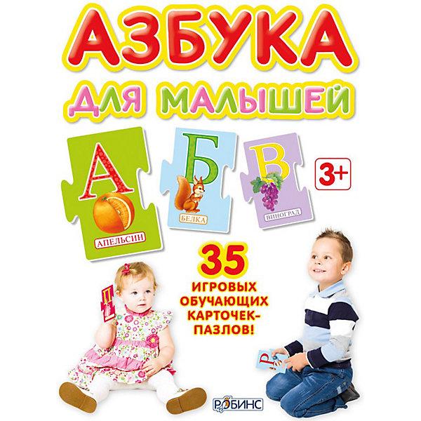 Пазлы Азбука для малышейКниги-пазлы<br>Пазлы Азбука для малышей от Робинс - это обучающий набор игровых карточек-пазлов, который поможет Вашему ребенку освоить алфавит, научиться читать и складывать слова. В комплекте 35 карточек-пазлов, которые легко складываются в слова и слоги. На каждой карточке размещен максимум визуальной информации о каждой букве: большая буква, картинка и слово, соответствующие этой букве. На оборотной стороне следующей буквы будет дано дополнительное изображение к предыдущей букве для формирования устойчивого ассоциативного ряда: буква-слово-картинка. Игра способствует увеличению словарного запаса, развитию речи, памяти, внимания и мелкой моторики.<br><br>Дополнительная информация:<br><br>- Материал: картон.<br>- Составитель: Н. Зайцева.<br>- Художники: Ю. Митченко, Г. Белоголовская.<br>- Иллюстрации: цветные.<br>- Объем: 35 карточек в картонной коробке.<br>- Размер упаковки: 11 х 15,5 х 4 см.<br>- Вес: 0,409 кг. <br><br>Набор пазлов Азбука для малышей, Робинс можно купить в нашем интернет-магазине.<br>Ширина мм: 154; Глубина мм: 40; Высота мм: 114; Вес г: 409; Возраст от месяцев: 36; Возраст до месяцев: 72; Пол: Унисекс; Возраст: Детский; SKU: 3733258;