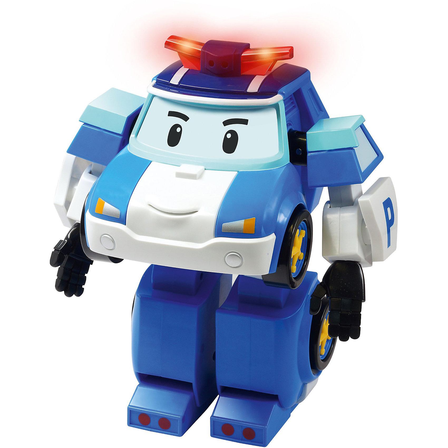 Робот-трансформер Поли, р/у, Робокар Поли, 31 смНеобыкновенный подарок для любителей чудесного мультфильма ROBOCAR POLI (Робокар Поли): теперь добрый и смелый полицейский Поли в виде настоящего робота на радиоуправлении! Дети обожают Поли, ведь он образец верности, надежности и порядка. Он охраняет спокойствие Брумстауна - города говорящих машинок, и всегда находит выход из любых трудных ситуаций. <br>Ребенок будет в восторге от робота Поли, ведь он дает массу игровых возможностей, а управлять им невероятно удобно: кнопки большого размера подойдут даже для маленьких пальчиков. Звуковые эффекты сопровождаются подсветкой фар, что создает еще большую реалистичность! Играйте, веселитесь и развивайтесь вместе с роботом Поли!<br><br>Дополнительная информация:<br>- В игровой набор входят:  шагающий робот Поли, пульт дистанционного управления;<br>- Управляется дистанционно в форме робота. Робот не трансформируется в машину.<br>- Есть функция записи голоса.<br>- Со звуковыми эффектами: сирена и 3 мелодии;<br>- Со световыми эффектами: мигалка, подсветка фар;<br>- Питание: 4 батарейки типа AAA и 1 батарейка 6LR61-9V (приобретаются отдельно);<br>- Размер робота: 31 см;<br>- Вес: 1,6 кг<br><br>Шагающего робота Поли, ROBOCAR POLI (Робокар Поли), 31 см можно купить в нашем интернет-магазине.<br><br>Ширина мм: 380<br>Глубина мм: 350<br>Высота мм: 185<br>Вес г: 1700<br>Возраст от месяцев: 36<br>Возраст до месяцев: 84<br>Пол: Унисекс<br>Возраст: Детский<br>SKU: 3733271