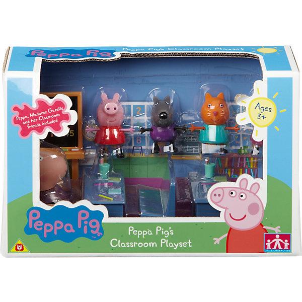 Игровой набор Идем в школу, Свинка ПеппаИгровые наборы с фигурками<br>Современные малыши с нетерпением ждут каждую новую серию детского сериала «Свинка Пеппа» (Peppa Pig). А с игровым набором «Идем в школу» они могут не только наблюдать за приключениями веселой свинки, но и участвовать в них! Теперь сценарий мультфильма будет зависеть только от фантазии самих ребятишек. В образе Пеппы, ее одноклассников и учительницы миссис Газель, которые могут сидеть, стоять, двигать ручками и ножками, дети будут осваивать новые знания и навыки общения, развивать кругозор, словарный запас и воображение. А наблюдательные родители смогут узнать о том, что происходит в жизни их деток в школе, ведь во время сюжетно-ролевых игр ребята проявляют и оттачивают тот опыт, который они приобретают в жизни.<br><br>Дополнительная информация:<br><br>- В наборе: 2 парты, 2 скамейки, доска, 4 фигурки учеников (5 см) и большая фигурка учительницы мисс Газель (8 см). Также в комплекте различные школьные пренадлежности (маленькие пеналы, ручки и тетради)<br><br>Игровой набор Идем в школу, Свинка Пепа можно купить в нашем магазине.<br>Ширина мм: 257; Глубина мм: 124; Высота мм: 159; Вес г: 331; Возраст от месяцев: 36; Возраст до месяцев: 60; Пол: Унисекс; Возраст: Детский; SKU: 3737371;