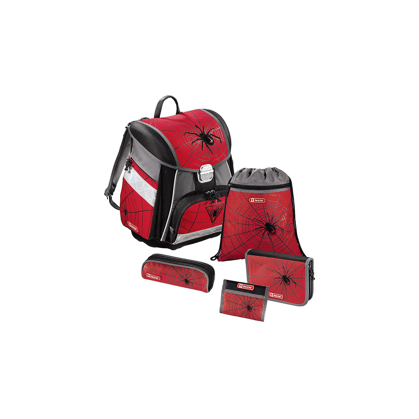 Ранец с наполнением Black Widow, 5 предметовРанцы<br>Вес: 1200 г Размер: 33 x 23.5 x 38.5 см Состав: пенал односекционный с клапаном и с наполнением; пенал-тубус мягкий на молнии;  сумка для обуви два отделения; кошелек на липучке и с молнией на шнурке, внутри брелок под ключи. Наличие светоотражающих элементов: да. Материал: полиэстер с водоотталкивающей пропиткой. Спина: жесткая. Наличие дополнительных карманов внутри: да. Дно: пластиковое. Количество отделений внутри: 2. Боковые карманы: есть. Замок: защелка. Вмещает А4: да. Подойдет для возраста какого 6 -10 лет для роста 116-146. Описание: -Anatomic Air System: спинка эргономичной формы с подушечками и выемками для вентиляции<br>- Спинка выполнена из специально разработанного сетчатого материала для оптимальной вентиляции<br>- Регулируемые плечевые ремни специальной формы с мягкими вкладками<br>- Светоотражающие элементы с трех сторон<br>- Прочная металлическая застежка обеспечивает быстрый доступ к основному отделению<br>- Передний карман выложен теплоизоляционным материалом, что позволяет сохранять температуру воды и напитков<br>- Табличка с именем владельца внутри<br>- Дополнительные карманы с обеих сторон<br>- Расписание уроков в верхней крышке. Два основных и три дополнительных отделения, ручка, брелок под ключи.<br><br>Ширина мм: 406<br>Глубина мм: 347<br>Высота мм: 271<br>Вес г: 1944<br>Возраст от месяцев: 72<br>Возраст до месяцев: 120<br>Пол: Женский<br>Возраст: Детский<br>SKU: 3738166