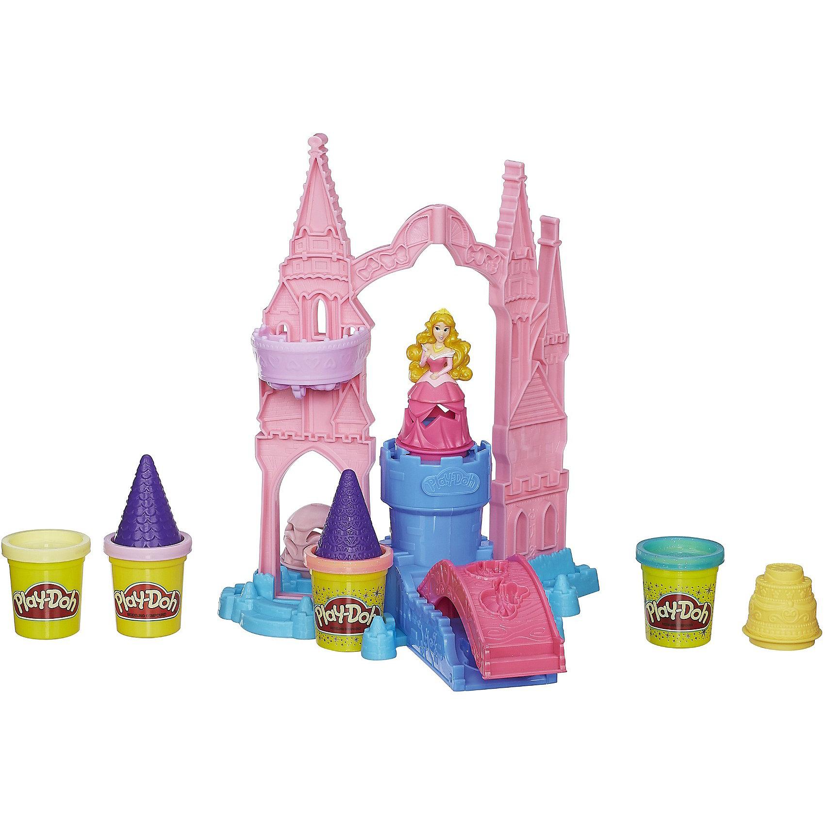Игровой набор Чудесный замок Авроры,Play-DohНаборы для лепки<br>Игровой набор Чудесный замок Авроры, Play-Doh (Плей До) - замечательный набор для игр и творчества, который порадует всех юных поклонниц диснеевских сказок о волшебных принцессах. В комплект входят детали для сборки роскошного замка принцессы Авроры с красивым, ярко-розовым мостом, множеством аксессуаров и фигуркой принцессы. С помощью деталей и 4 баночек пластилина, два из которых с блестками, Ваша малышка сможет украсить замок на свой вкус.<br><br>Пластилином можно украсить не только замок, но также платье принцессы и тортик, который она приготовила для своих гостей. Пластилин Play-Doh не липнет к рукам и поверхностям, легко собирается обратно в банку и быстро застывает. Чтобы пластилин стал снова мягким, его достаточно смочить водой, он приготовлен на растительной основе и полностью безопасен для детей.<br><br>Дополнительная информация:<br><br>- В комплекте: замок, фигурка принцессы, два наряда принцессы, тортик, ролики, 4 баночки с пластилином (2 Play-Doh, 2 Play-Doh Sparkle - блестящего пластилина).<br>- Материал: пластик, пластилин.<br>- Размер упаковки: 33 х 8 х 33 см.<br>- Вес: 0,92 кг.<br><br>Игровой набор Чудесный замок Авроры, Play-Doh (Плей-До)можно купить в нашем интернет-магазине.<br><br>Ширина мм: 81<br>Глубина мм: 330<br>Высота мм: 330<br>Вес г: 1100<br>Возраст от месяцев: 36<br>Возраст до месяцев: 72<br>Пол: Женский<br>Возраст: Детский<br>SKU: 3741498