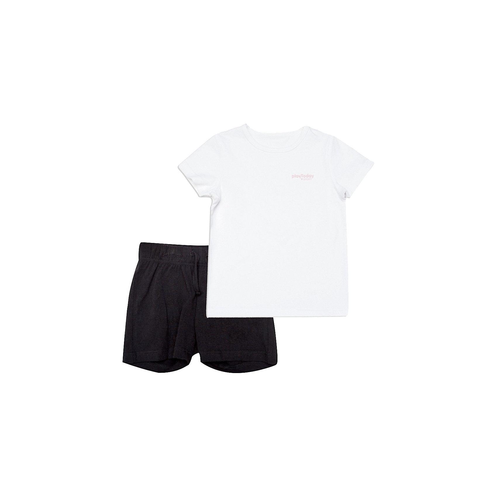Комплект для девочки: футболка и шорты PlayTodayКомплект для девочки: футболка и шорты  от известной марки PlayToday<br>* удобный комплект, состоящий из футболки и шорт<br>* эластичный трикотаж<br>* горловина футболки обработана трикотажной бейкой<br>* пояс на внутренней резинке, регулируется шнурком<br>Состав:<br>95% хлопок, 5% эластан<br><br>Ширина мм: 199<br>Глубина мм: 10<br>Высота мм: 161<br>Вес г: 151<br>Цвет: белый<br>Возраст от месяцев: 24<br>Возраст до месяцев: 36<br>Пол: Женский<br>Возраст: Детский<br>Размер: 98,104,122,128,116,110<br>SKU: 3742394