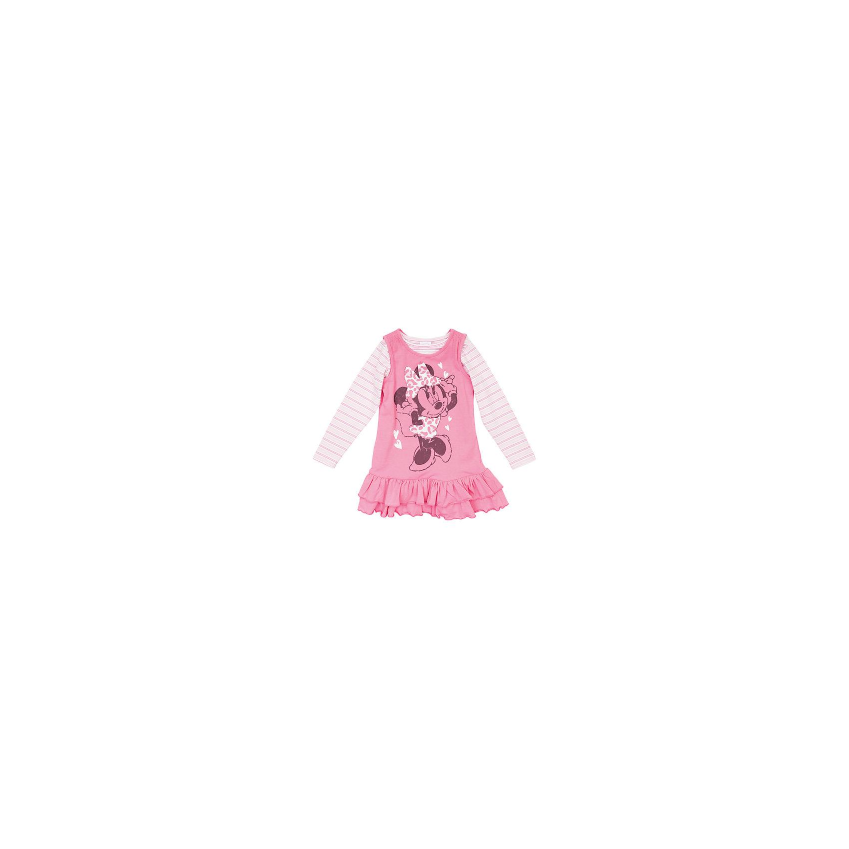 Комплект для девочки: футболка с длинным рукавом и сарафан Минни Маус