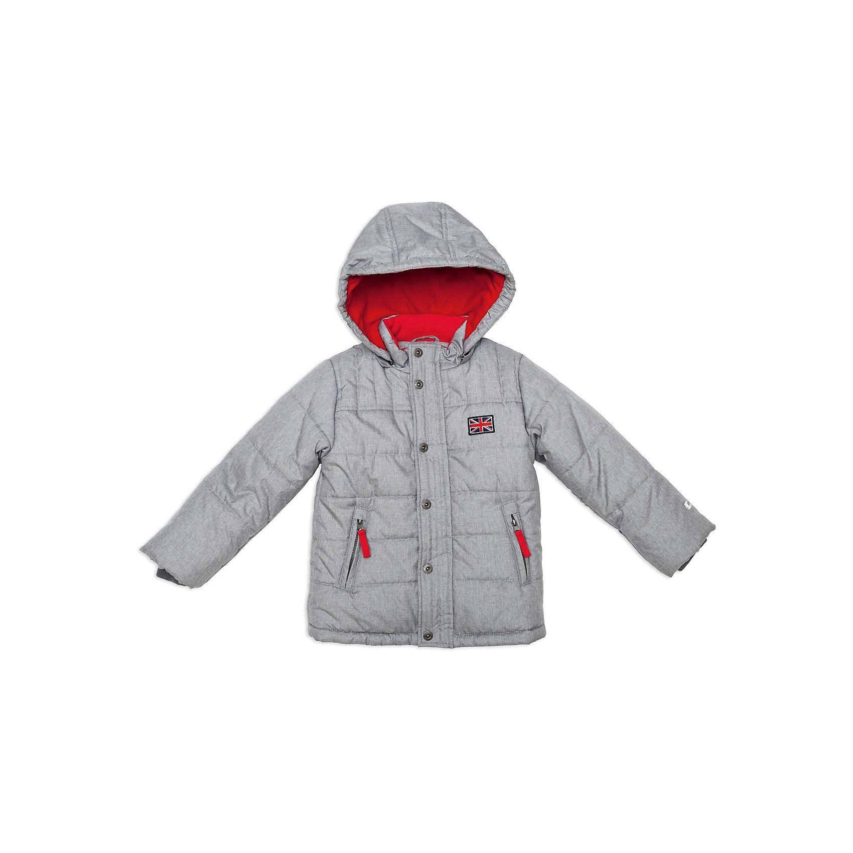 Куртка для мальчика PlayTodayВерхняя одежда<br>Куртка для мальчика от известной марки PlayToday<br>* комфортная теплая куртка <br>* застежка - молния; ветрозащитная планка с застежкой на кнопки; защита подбородка<br>* высокий воротник-стойка <br>* съемный утепленный капюшон на молнии<br>* светоотражающий кант на спинке<br>* боковые карманы на молнии<br>* низ куртки утягивается стопперами<br>* нашивка на полочке<br>* манжеты дополнены трикотажной резинкой<br>* яркая подкладка из флиса<br>Состав:<br>верх: 100% полиэстер, подкладка: 100% полиэстер, наполнитель: 100% полиэстер<br><br>Ширина мм: 356<br>Глубина мм: 10<br>Высота мм: 245<br>Вес г: 519<br>Цвет: серый<br>Возраст от месяцев: 24<br>Возраст до месяцев: 36<br>Пол: Мужской<br>Возраст: Детский<br>Размер: 98,116,122,128,110,104<br>SKU: 3742786