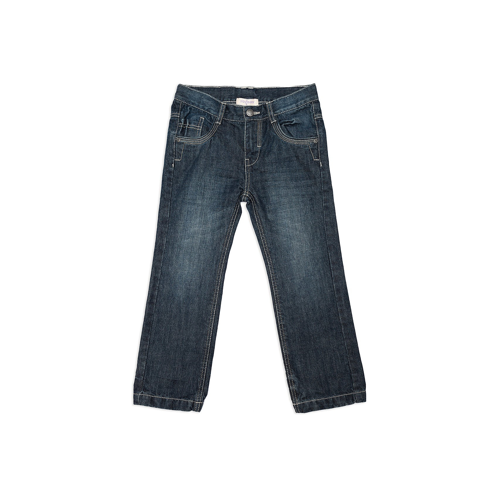 Джинсы для мальчика PlayTodayДжинсы для мальчика от известной марки PlayToday<br>* джинсовая ткань<br>* застежка на молнию и болт<br>* пояс регулируется внутренней резинкой<br>* классические функциональные карманы; задние карманы с клапаном<br>* декорированы контрастными строчками<br>Состав:<br>100% хлопок<br><br>Ширина мм: 215<br>Глубина мм: 88<br>Высота мм: 191<br>Вес г: 336<br>Цвет: синий<br>Возраст от месяцев: 36<br>Возраст до месяцев: 48<br>Пол: Мужской<br>Возраст: Детский<br>Размер: 104,98,116,128,122,110<br>SKU: 3742947