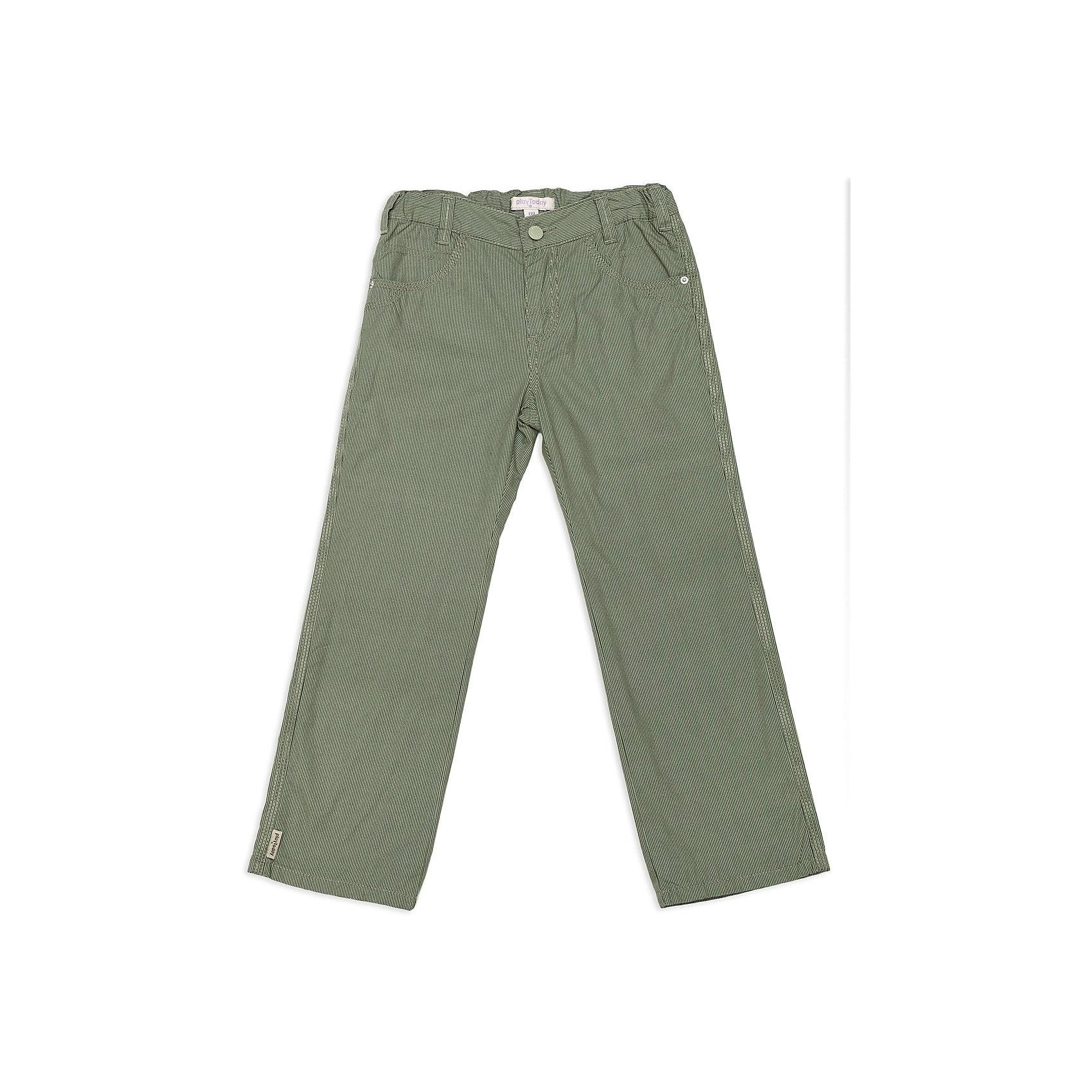 Брюки для мальчика PlayTodayБрюки для мальчика от известной марки PlayToday<br>* удобные текстильные брюки<br>* пояс регулируется внутренней резинкой<br>* застежка - молния, пуговица<br>* модель дополнена функциональными карманами<br>* замечательный вариант как для детского сада, так и прогулок<br>Состав:<br>верх: 100% хлопок, подкладка: 100% хлопок<br><br>Ширина мм: 215<br>Глубина мм: 88<br>Высота мм: 191<br>Вес г: 336<br>Цвет: хаки<br>Возраст от месяцев: 24<br>Возраст до месяцев: 36<br>Пол: Мужской<br>Возраст: Детский<br>Размер: 98,104,116,128,122,110<br>SKU: 3743084