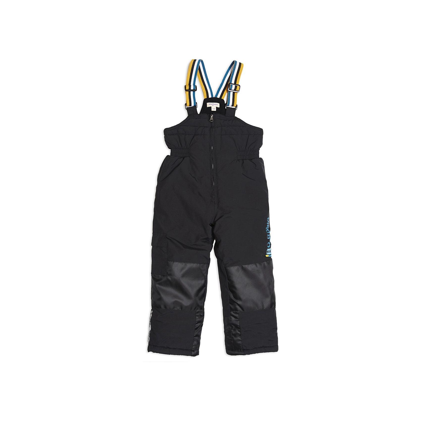 Полукомбинезон для мальчика PlayTodayВерхняя одежда<br>Полукомбинезон для мальчика от известной марки PlayToday расчитан на осеннюю погоду, можно носить с поддевой до температуры 0 градусов.<br>* функциональный утепленный полукомбинезон для ежедневных прогулок<br>* для более комфортных и долгих прогулок комбинезон в области колен, сзади и по внутреннему шагу дополнен вставками из усиленного непромокаемого материала<br>* застежка – молния<br>* бретели – регулируемая резинка<br>* вшитая резинка на поясе<br>* двойной низ брючин: внутренний слой по низу на резинке снегозащита - надевается на сапоги; внешний слой по низу утягивается стопперами<br><br>Состав: верх: 100% нейлон, подкладка: 100% полиэстер, наполнитель: 100% полиэстер<br><br>Полукомбинезон для мальчика PlayToday (Плейтудей) можно купить в нашем магазине.<br><br>Ширина мм: 215<br>Глубина мм: 88<br>Высота мм: 191<br>Вес г: 336<br>Цвет: черный<br>Возраст от месяцев: 36<br>Возраст до месяцев: 48<br>Пол: Мужской<br>Возраст: Детский<br>Размер: 104,128,110,122,116,98<br>SKU: 3743148