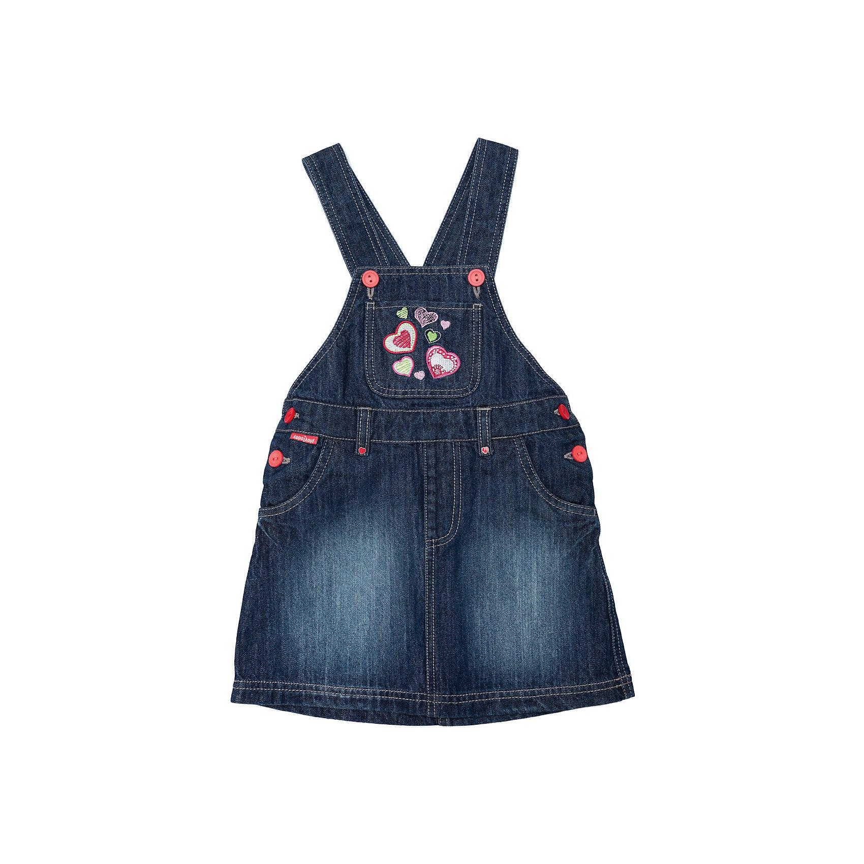 Сарафан джинсовый для девочки PlayTodayПлатья и сарафаны<br>Сарафан из джинсы от известной марки PlayToday<br>* прекрасный джинсовый сарафан на каждый день для девочки<br>* регулируемые бретели<br>* со стороны спинки регулируемый пояс на внутренней резинке <br>* застежка на пуговицы<br>* накладной карман на кокетке, боковые и задние карманы<br>* яркая вышивка и отстрочка<br>Состав:<br>верх: 100% хлопок, подкладка: 100% хлопок<br><br>Ширина мм: 236<br>Глубина мм: 16<br>Высота мм: 184<br>Вес г: 177<br>Цвет: синий<br>Возраст от месяцев: 72<br>Возраст до месяцев: 84<br>Пол: Женский<br>Возраст: Детский<br>Размер: 122,116,98,128,110,104<br>SKU: 3743507