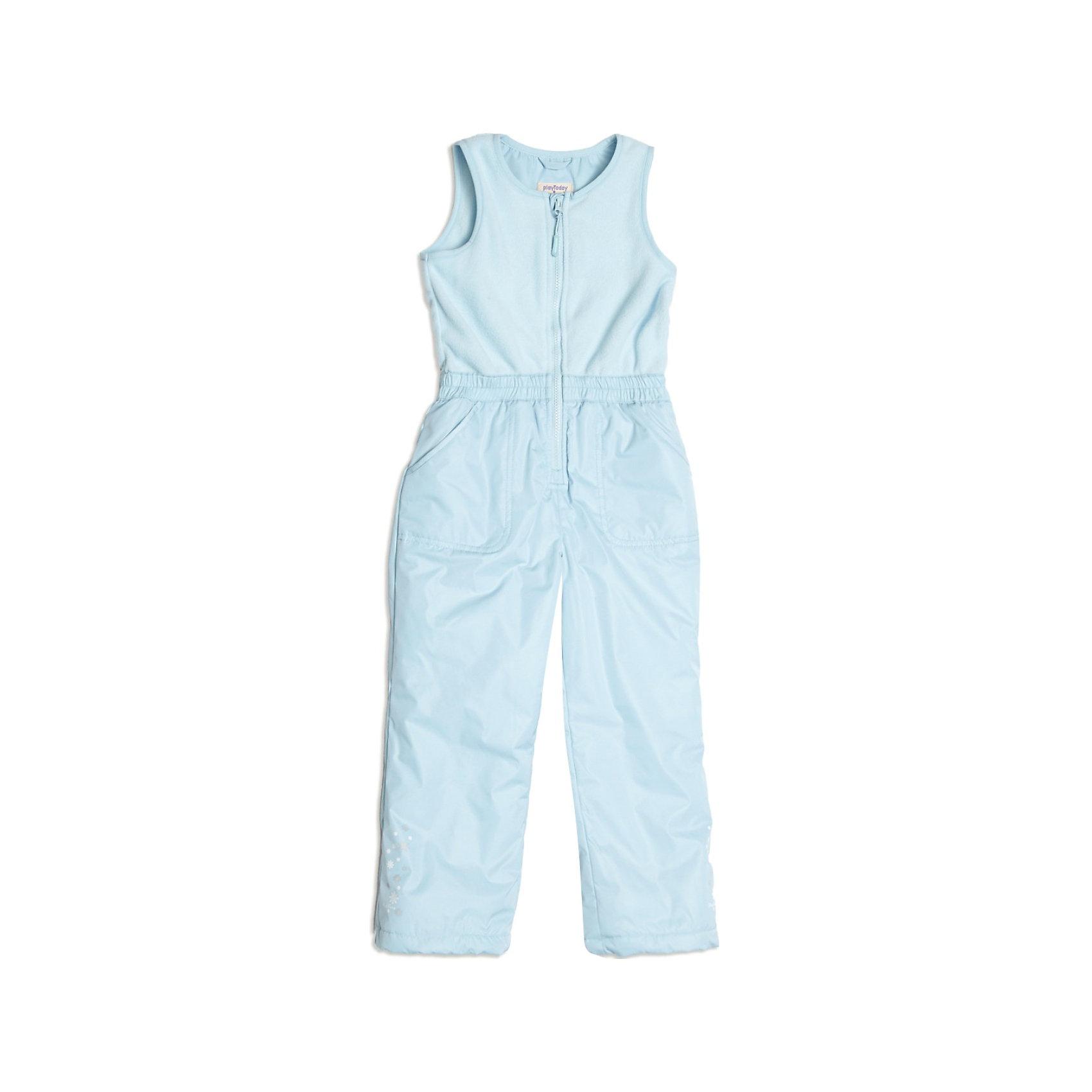 Полукомбинезон для девочки PlayTodayВерхняя одежда<br>Полукомбинезон для девочки от известной марки PlayToday<br>* прекрасный полукомбинезон из комбинированной ткани для активных прогулок в холодную погоду<br>* спереди застегивается на молнию; защита подбородка<br>* на талии эластичная резинка<br>* двойной низ брючин: внутренний слой по низу на резинке снегозащита - надевается на сапоги; внешний слой по низу утягивается стопперами<br>* по бокам брючин - светоотражающие канты<br>* ткань с водоотталкивающей пропиткой<br>* боковые карманы<br>* низ брючин декорирован принтом<br><br>Состав: верх: 100% полиэстер, подкладка: 100% полиэстер, наполнитель: 100% полиэстер<br>Утеплитель: 120 г<br><br>Полукомбинезон для девочки PlayToday (Плейтудей) можно купить в нашем магазине.<br><br>Ширина мм: 215<br>Глубина мм: 88<br>Высота мм: 191<br>Вес г: 336<br>Цвет: голубой<br>Возраст от месяцев: 36<br>Возраст до месяцев: 48<br>Пол: Женский<br>Возраст: Детский<br>Размер: 104,128,122,116,110,98<br>SKU: 3745264