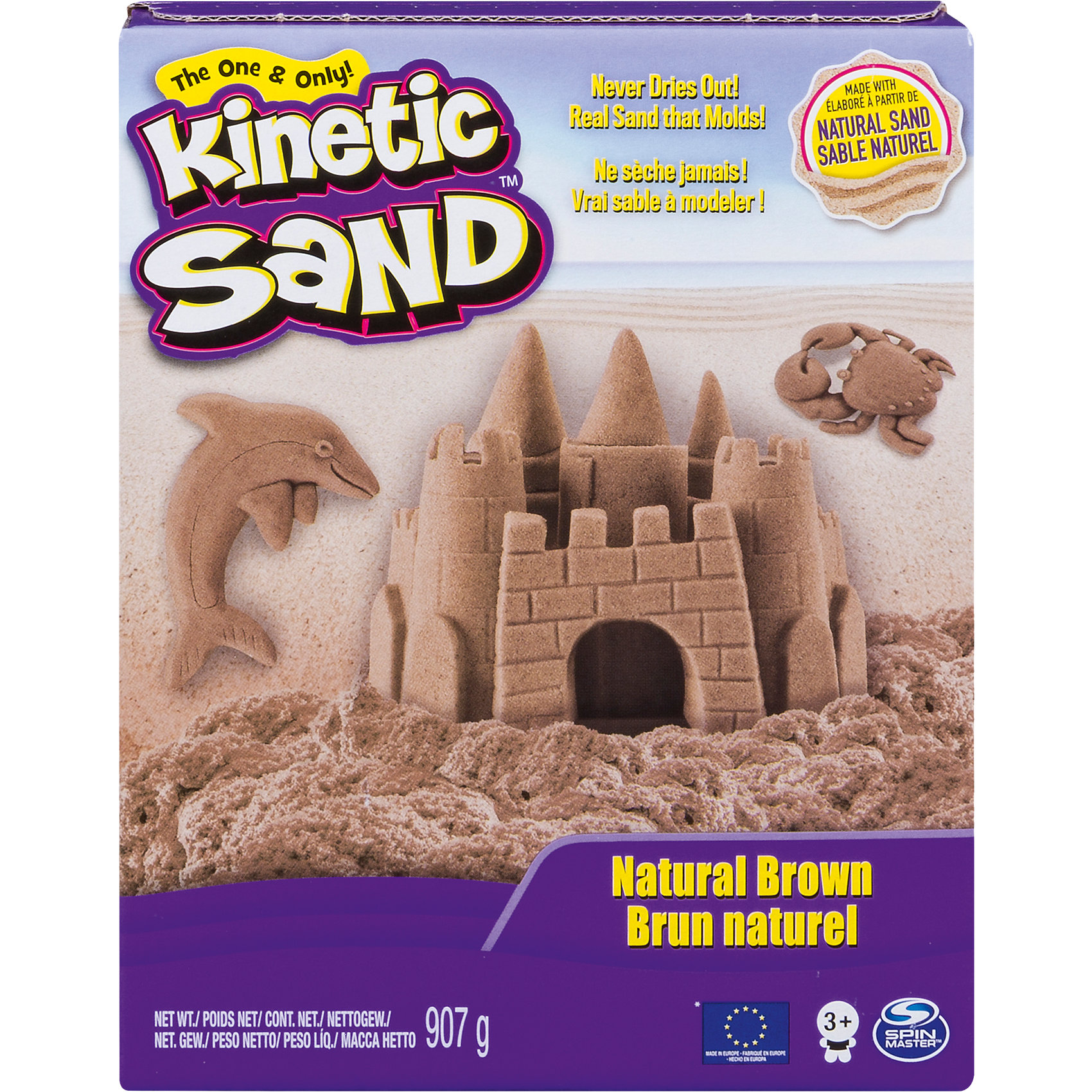 Песок для лепки коричневый, 910 гр. Kinetic sandПесок для лепки Kinetic Sand  - уникальный материал для детского творчества. Kinetic Sand представляет собой смесь чистейшего кварцевого песка (98%) и специального связующего агента (2%). По консистенции он напоминает влажный морской песок, рыхлый, течет сквозь пальцы, в то же время оставаясь сухим. За счет специального безопасного реагента песочная смесь никогда не распадается на отдельные песчинки. Кинетический песок абсолютно нетоксичен, не вызывает аллергии, в нем не заводятся бактерии и микробы. <br><br>Благодаря своим уникальным свойствам, кинетический песок предоставляет большие возможности для творчества. Из него можно лепить разнообразные фигуры, фантастические замки и необычные конструкции. С помощью обыкновенных формочек для пластилина или печенья можно вылепить что угодно, создавая целые композиции. Песок легко принимает нужную форму и становится плотным при лепке. Kinetic Sand не сохнет, легко собирается с поверхности и играть с ним можно снова и снова.<br><br>Игры с кинетическим песком развивают мелкую моторику, чувственное восприятие и креативность, прекрасно снимают стресс и обладает терапевтическим эффектом. <br><br>Дополнительная информация:<br><br>- Комплект: кинетический песок (910 гр.).<br>- Цвет: коричневый.<br>- Состав песка: 98% кварцевого песка, 2%  связующего агента.<br>- Размер упаковки: 19,5 х 6,5 х 11 см.<br>- Вес с упаковкой: 0,985 кг.<br><br>Песок для лепки Kinetic Sand можно купить в нашем интернет-магазине.<br><br>Ширина мм: 196<br>Глубина мм: 95<br>Высота мм: 67<br>Вес г: 935<br>Возраст от месяцев: 36<br>Возраст до месяцев: 72<br>Пол: Унисекс<br>Возраст: Детский<br>SKU: 3746039