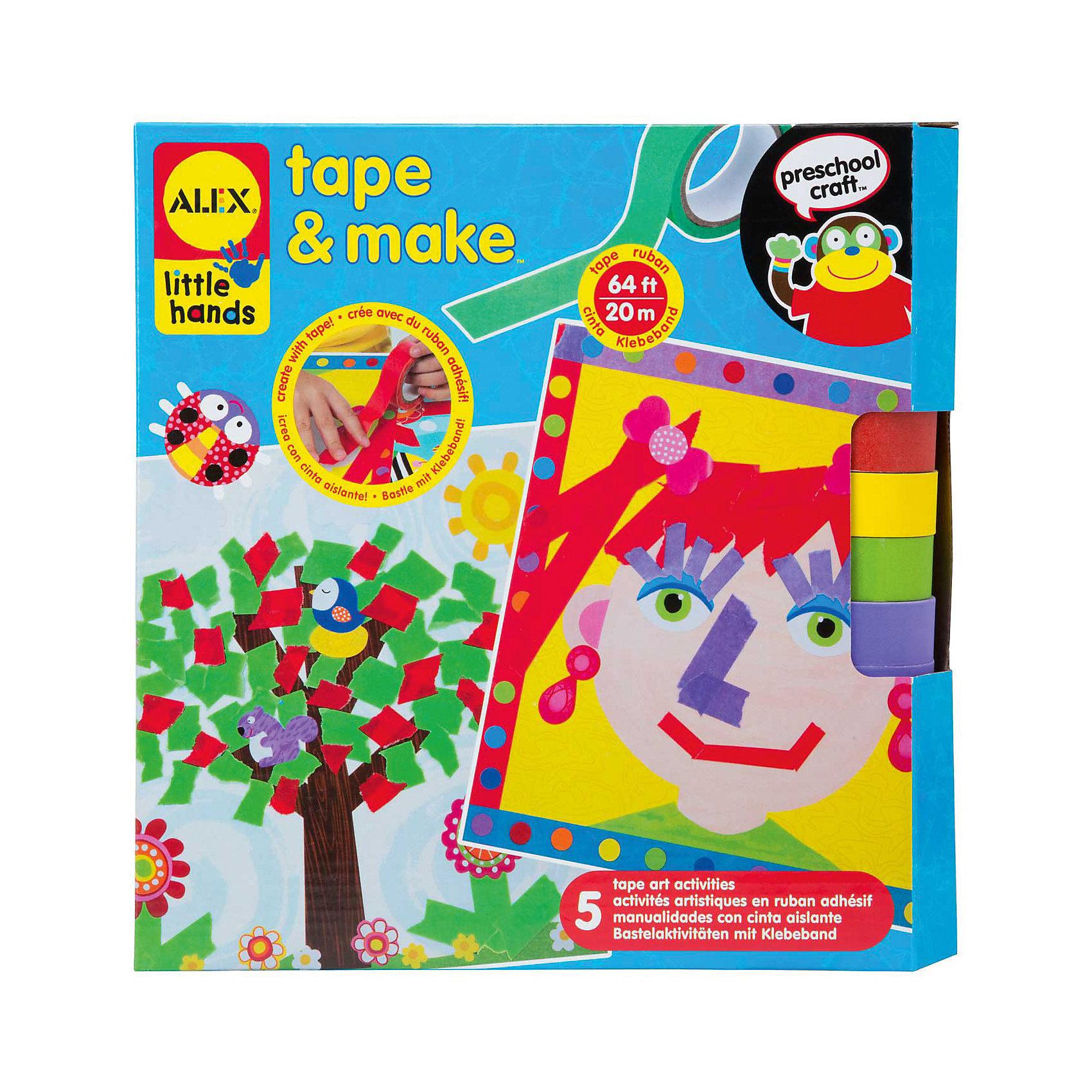 Аппликации из разноцветных лент, ALEXАппликации из разноцветных лент,ALEX (Алекс) – это набор для создания 5-ти больших красочных аппликаций удивительным способом - из кусочков цветных лент на клейкой основе и из готовых стикеров. Разноцветные ленты можно разрезать и склеивать как угодно, проявляя фантазию! Ваш ребенок будет создавать картины по своему выбору и на свой вкус. <br>Набор развивает фантазию, мышление, мелкую моторику.<br><br>Дополнительная информация:<br><br>- В наборе: 5 картонных основ с забавными картинками, клейкая лента 4 ярких цветов в рулонах - всего 20 м, 126 стикеров<br>- Размер упаковки: 254х250х60 мм.<br>- Вес: 454 гр.<br><br>Набор «Аппликации из разноцветных лент», ALEX (Алекс) можно купить в нашем интернет-магазине.<br><br>Ширина мм: 254<br>Глубина мм: 250<br>Высота мм: 60<br>Вес г: 454<br>Возраст от месяцев: 36<br>Возраст до месяцев: 72<br>Пол: Унисекс<br>Возраст: Детский<br>SKU: 3747451