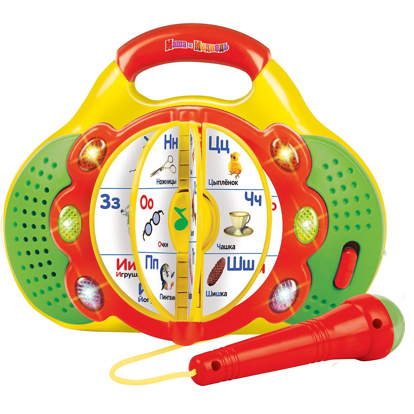Азбука-караоке, с микрофоном, со светом, Маша и медведь, УмкаАзбука-караоке, Маша и медведь, Умка - оригинальная игрушка с книжкой, которая в веселой игровой форме поможет ребенку выучить алфавит. Игрушка имеет яркий красочный дизайн по мотивам популярного мультсериала Маша и Медведь. На страничках встроенной книжки яркие картинки с изображениями букв и соответствующих им слов. <br><br>6 обучающих функций позволяют выучить буквы алфавита, услышать различные слова на каждую букву алфавита, прослушать 33 стихотворения и  7 песен из мультфильма. А используя съемный караоке-микрофон можно весело подпевать любимым песенкам. Игра сопровождается световыми эффектами, имеется удобная ручка для переноски. Игрушка способствует развитию речи, памяти, логического мышления, звуко- и цветовосприятия.<br><br>Дополнительная информация:<br><br>- Материал: пластик, элементы металла, картон.<br>- Требуются батарейки: 2 х АА (входят в комплект).<br>- Объем книжки: 6 стр.<br>- Размер упаковки: 10 х 26 х 21 см. <br><br>Азбуку-караоке, Маша и медведь, Умка можно купить в нашем интернет-магазине.<br><br>Ширина мм: 500<br>Глубина мм: 350<br>Высота мм: 220<br>Вес г: 800<br>Возраст от месяцев: 36<br>Возраст до месяцев: 72<br>Пол: Унисекс<br>Возраст: Детский<br>SKU: 3750399