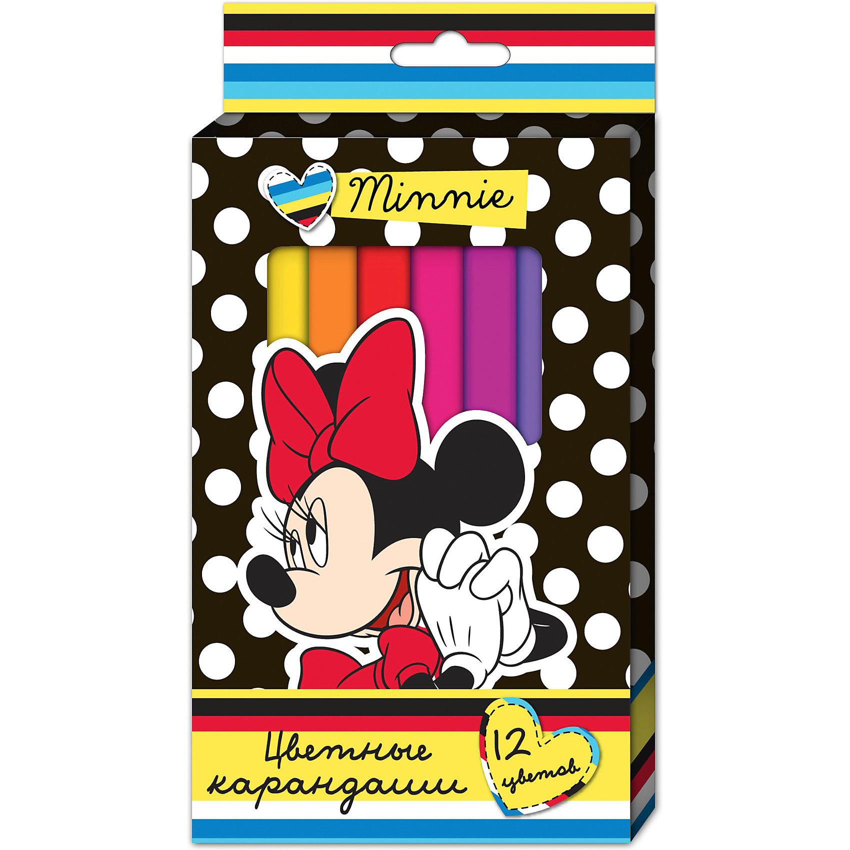Цветные карандаши, 12 цв., Минни МаусЦветные карандаши необходимый инструмент для детского творчества и школьных занятий. Набор цветных карандашей Минни Disney от Росмэн оформлен в красочную картонную упаковку с изображением популярной героини диснеевских мультфильмов мышки Минни (Minnie Mouse). 12 цветных трехгранных карандашей идеально подходят для рисования, письма и раскрашивания. Благодаря утолщенному корпусу и эргономичной форме, они особенно удобны для детской руки и не требуют сильного нажатия. Карандаши<br>изготовлены из высококачественной древесины, легко затачиваются, имеют прочный грифель, который не ломается при заточке.<br><br>Дополнительная информация:<br><br>- В наборе 12 карандашей разных цветов.<br>- Материал: дерево, грифель.<br>- Размер упаковки: 20,5 х 12 х 1 см.<br>- Вес: 130 гр.<br><br>Цветные карандаши, 12 цв., Минни Маус можно купить в нашем интернет-магазине.<br><br>Ширина мм: 205<br>Глубина мм: 120<br>Высота мм: 10<br>Вес г: 130<br>Возраст от месяцев: 36<br>Возраст до месяцев: 108<br>Пол: Женский<br>Возраст: Детский<br>SKU: 3750421