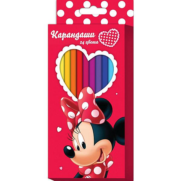 Цветные карандаши, 24 цв., Минни МаусМинни Маус<br>Цветные карандаши необходимый инструмент для детского творчества и школьных занятий. Набор цветных карандашей Минни Disney от Росмэн оформлен в красочную картонную упаковку с изображением популярной героини диснеевских мультфильмов мышки Минни (Minnie Mouse). 24 цветных шестигранных карандаша идеально подходят для рисования, письма и раскрашивания. Благодаря утолщенному корпусу и эргономичной форме, они особенно удобны для детской руки и не требуют сильного нажатия. Карандаши<br>изготовлены из высококачественной древесины, легко затачиваются, имеют прочный грифель, который не ломается при заточке.<br><br>Дополнительная информация:<br><br>- В наборе 24 карандаша.<br>- Материал: дерево, грифель.<br>- Размер упаковки: 21 х 9 х 1,5 см.<br>- Вес: 150 гр.<br><br>Цветные карандаши, 24 цв., Минни Маус можно купить в нашем интернет-магазине.<br>Ширина мм: 210; Глубина мм: 90; Высота мм: 15; Вес г: 150; Возраст от месяцев: 36; Возраст до месяцев: 108; Пол: Женский; Возраст: Детский; SKU: 3750422;