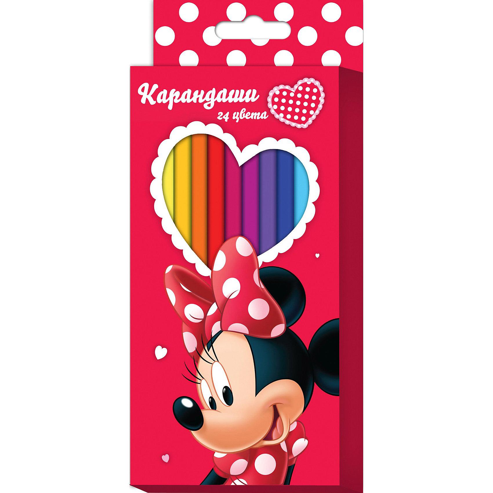 Цветные карандаши, 24 цв., Минни МаусЦветные карандаши необходимый инструмент для детского творчества и школьных занятий. Набор цветных карандашей Минни Disney от Росмэн оформлен в красочную картонную упаковку с изображением популярной героини диснеевских мультфильмов мышки Минни (Minnie Mouse). 24 цветных шестигранных карандаша идеально подходят для рисования, письма и раскрашивания. Благодаря утолщенному корпусу и эргономичной форме, они особенно удобны для детской руки и не требуют сильного нажатия. Карандаши<br>изготовлены из высококачественной древесины, легко затачиваются, имеют прочный грифель, который не ломается при заточке.<br><br>Дополнительная информация:<br><br>- В наборе 24 карандаша.<br>- Материал: дерево, грифель.<br>- Размер упаковки: 21 х 9 х 1,5 см.<br>- Вес: 150 гр.<br><br>Цветные карандаши, 24 цв., Минни Маус можно купить в нашем интернет-магазине.<br><br>Ширина мм: 210<br>Глубина мм: 90<br>Высота мм: 15<br>Вес г: 150<br>Возраст от месяцев: 36<br>Возраст до месяцев: 108<br>Пол: Женский<br>Возраст: Детский<br>SKU: 3750422