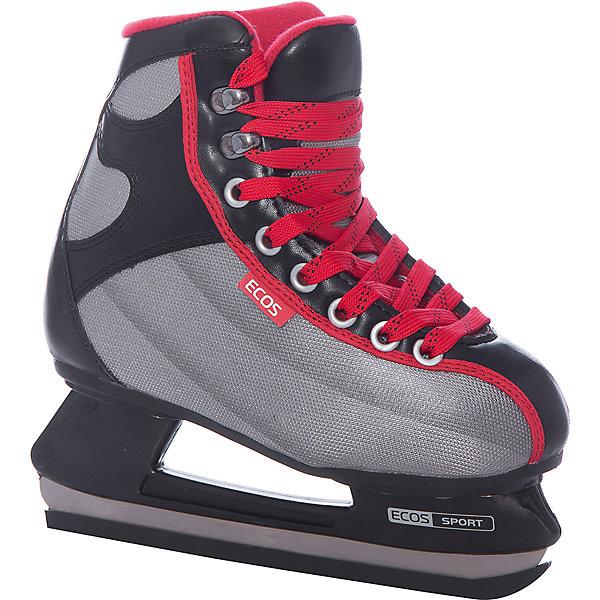 Хоккейные коньки, EcosКоньки<br>Удобные детские хоккейные коньки S1-HQ9, Ecos идеально подходят для комфортного и безопасного катания Вашего ребенка. Коньки выполнены в серо-черной расцветке, современные технологичные материалы и анатомический ботинок обеспечивают максимум комфорта при катании. Высокий сапожок обеспечивает лучшую поддержку ноги и надежно предохраняет от травм. <br><br>Ботинок выполнен из морозоустойчивого материала, лезвие из нержавеющей стали. Для внутренней отделки использован капровелюр, для язычка - мягкая ворсистая основа.<br>Стельки коньков сделаны из вспененного материала, который поглощает вибрацию во время катания, застежка-шнуровка. <br><br>Дополнительная информация:<br><br>- Крепление лезвия: полипропилен. <br><br>Хоккейные коньки, Ecos можно купить в нашем интернет-магазине.<br>Ширина мм: 320; Глубина мм: 420; Высота мм: 110; Вес г: 2101; Цвет: черный/розовый; Возраст от месяцев: 120; Возраст до месяцев: 132; Пол: Мужской; Возраст: Детский; Размер: 34,36,38,40,42; SKU: 3756289;