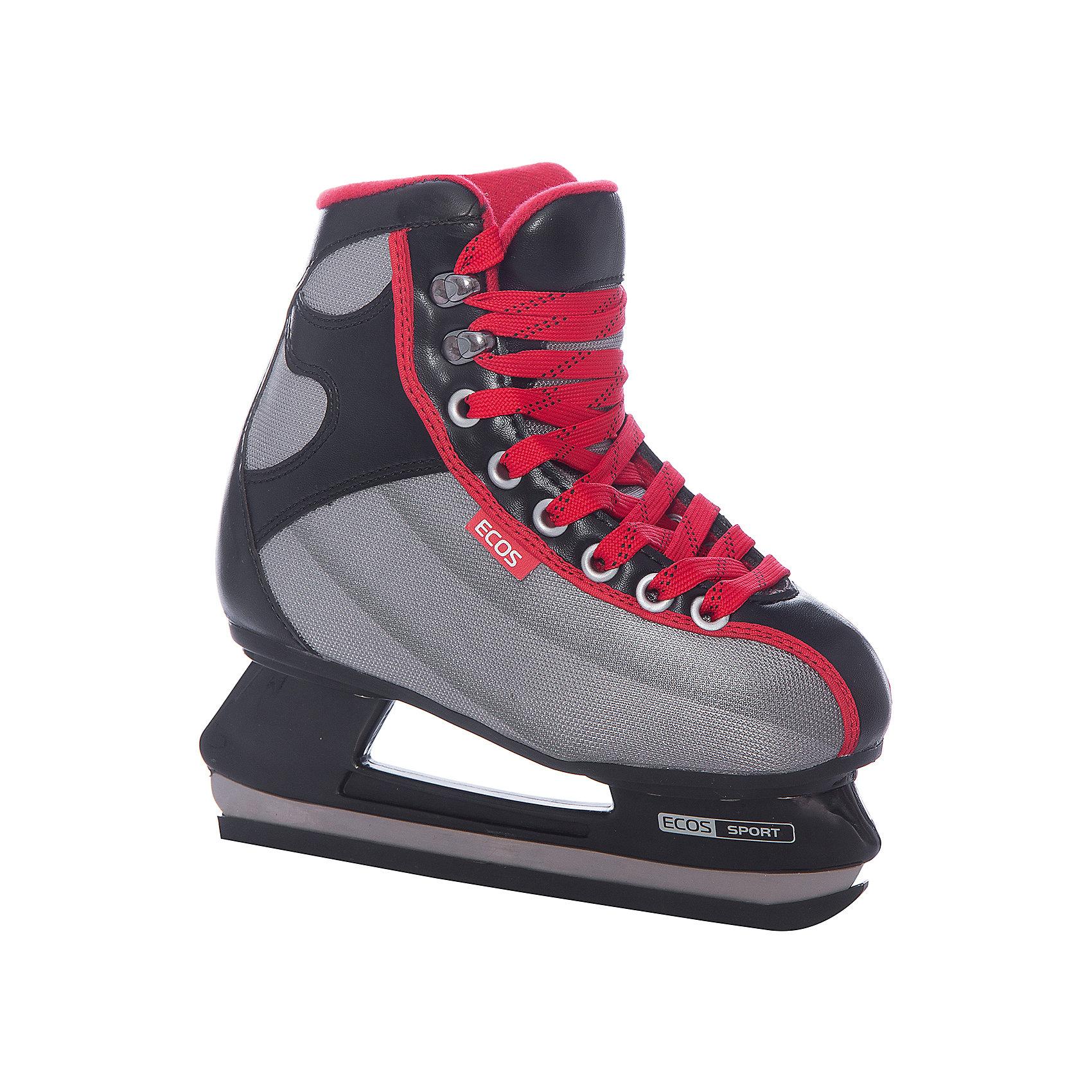 Хоккейные коньки, EcosУдобные детские хоккейные коньки S1-HQ9, Ecos идеально подходят для комфортного и безопасного катания Вашего ребенка. Коньки выполнены в серо-черной расцветке, современные технологичные материалы и анатомический ботинок обеспечивают максимум комфорта при катании. Высокий сапожок обеспечивает лучшую поддержку ноги и надежно предохраняет от травм. <br><br>Ботинок выполнен из морозоустойчивого материала, лезвие из нержавеющей стали. Для внутренней отделки использован капровелюр, для язычка - мягкая ворсистая основа.<br>Стельки коньков сделаны из вспененного материала, который поглощает вибрацию во время катания, застежка-шнуровка. <br><br>Дополнительная информация:<br><br>- Крепление лезвия: полипропилен. <br><br>Хоккейные коньки, Ecos можно купить в нашем интернет-магазине.<br><br>Ширина мм: 320<br>Глубина мм: 420<br>Высота мм: 110<br>Вес г: 2101<br>Цвет: черный/розовый<br>Возраст от месяцев: 120<br>Возраст до месяцев: 132<br>Пол: Мужской<br>Возраст: Детский<br>Размер: 34,36,38,40,42<br>SKU: 3756289