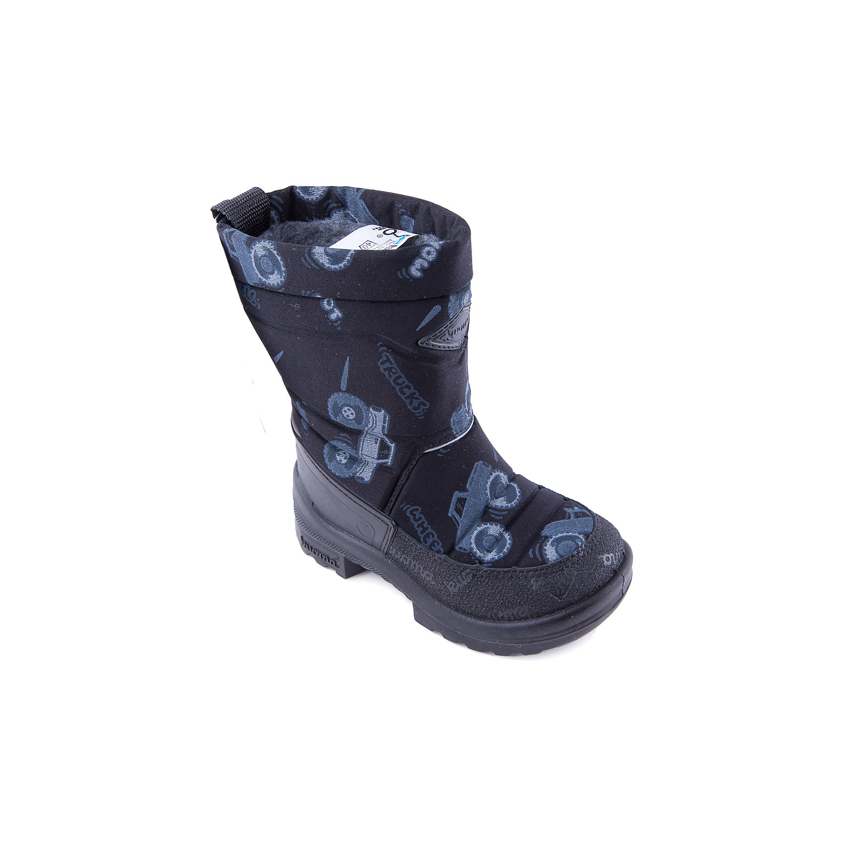 Зимние сапоги для мальчика KUOMAЗимние сапоги PUTKIVARSI от известного финского бренда kuoma® (Куома) исключительно теплые и очень удобные. Все изделия имеют крепкую амортизирующую подошву, которая «работает» даже в холодных зимних условиях. Кроме того, обувь снабжена сменными стельками и светоотражающими полосками в целях повышения безопасности. Матерчатый верх обуви проходят специальную противогрязевую и влагоотталкивающую обработку. Обувь kuoma® (Куома) подходит даже для самых холодных зим.     <br><br>Температурный режим: от - 5°C до - 30°C.<br><br>Состав:<br>Верх - триплированный, износостойкий, влагостойкий материал, стелька - иск/войлок, подошва - износостойкая, гибкая из полиуритана.Состав: <br>Материал верха: Полиамид с пропиткой.<br><br>Ширина мм: 257<br>Глубина мм: 180<br>Высота мм: 130<br>Вес г: 420<br>Цвет: черный<br>Возраст от месяцев: 24<br>Возраст до месяцев: 24<br>Пол: Мужской<br>Возраст: Детский<br>Размер: 25,39,38,35,32,33,31,23,24,30,26,27,29,28<br>SKU: 3756475