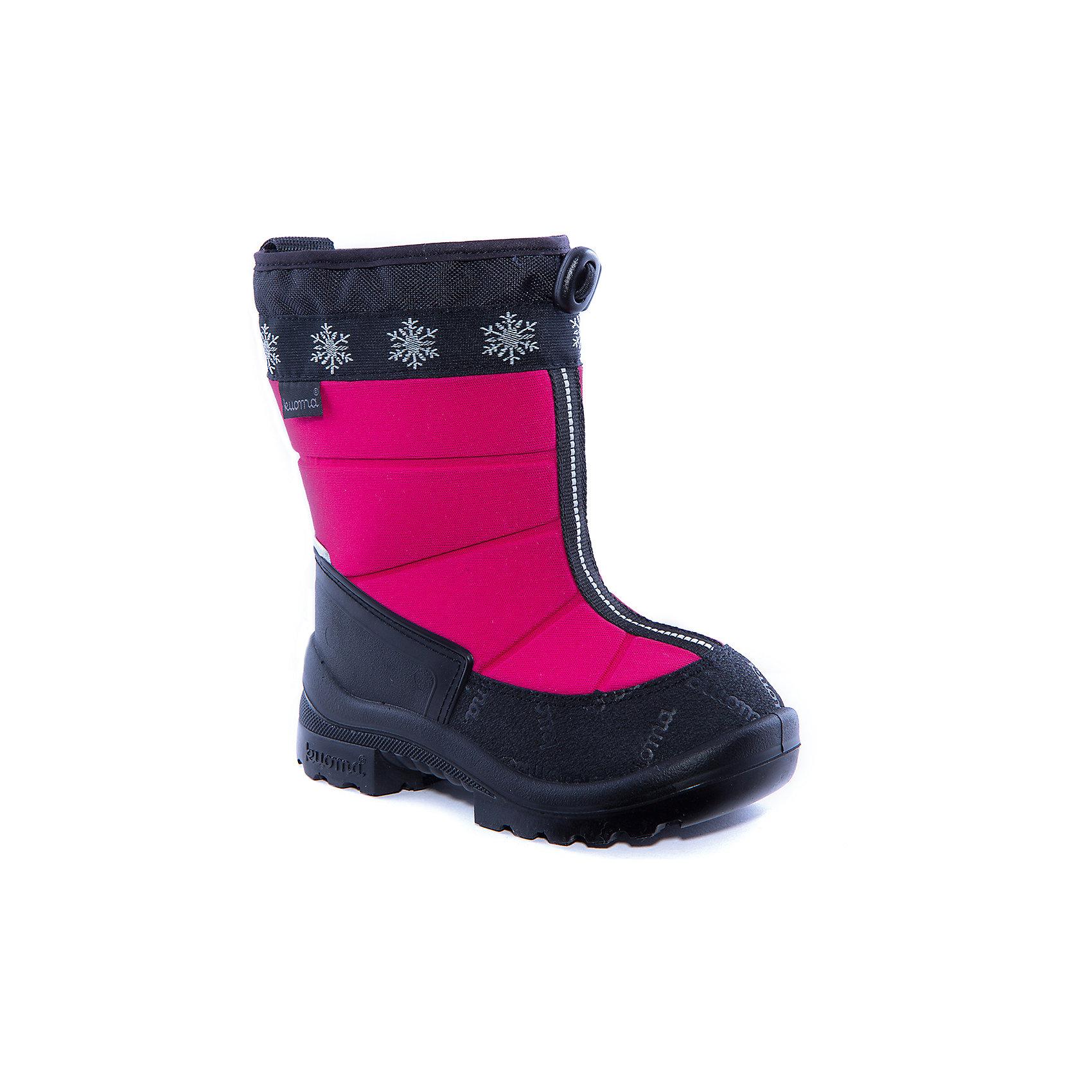 Сапоги Lumi Eskimo для девочки KUOMAОбувь<br>Характеристики товара:<br><br>• цвет: розовый<br>• температурный режим: от -5° С до -30° С<br>• внешний материал: текстиль <br>• подкладка: искусственный материал <br>• стелька: искусственный мех<br>• подошва: полиуретан<br>• светоотражающие детали<br>• амортизирующая износостойкая подошва<br>• сменная стелька<br>• верх  - с влагоотталкивающей обработкой<br>• страна бренда: Финляндия<br>• страна изготовитель: Финляндия<br><br>Во всех валенках Kuoma до 26 размера включительно утеплитель – натуральная шерсть, начиная с 27 размера – искусственный мех <br><br>Стильные сапожки для ребенка от известного бренда детской обуви KUOMA (Куома) созданы специально для холодной погоды. Качественные материалы с пропиткой против грязи и воды и модный дизайн понравятся и малышам и их родителям. Подошва и стелька обеспечат ребенку комфорт, сухость и тепло, позволяя в полной мере наслаждаться зимним отдыхом. Усиленная защита пятки и носка обеспечивает дополнительную безопасность детских ног в этих сапожках.<br>Эта красивая и удобная обувь прослужит долго благодаря известному качеству финских товаров. Производитель предусмотрел даже светоотражающие детали и амортизирующие свойства подошвы! Модель производится из качественных и проверенных материалов, которые безопасны для детей.<br><br>Зимние сапоги для девочки от бренда KUOMA (Куома) можно купить в нашем интернет-магазине.<br><br>Ширина мм: 257<br>Глубина мм: 180<br>Высота мм: 130<br>Вес г: 420<br>Цвет: розовый<br>Возраст от месяцев: 18<br>Возраст до месяцев: 21<br>Пол: Женский<br>Возраст: Детский<br>Размер: 23,22,21,26,27,28,30,32,33,35,34,31,29,25,24<br>SKU: 3756601