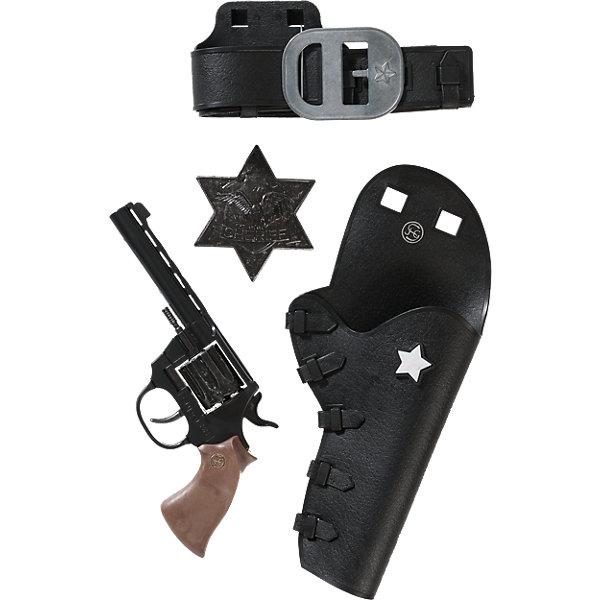 Набор Дикий Запад с пистолетом Super 88,  SchrodelИгрушечное оружие<br>Набор Дикий Запад с пистолетом Super 88,  Schrodel (Шрёдел) – этот игровой набор отличный подарок для вашего мальчика.<br>Дикий Запад — неспокойное место, и кто-то должен защищать местных жителей и прекрасных леди! Набор «Дикий запад с пистолетом Super 88 - это отличная возможность стать шерифом в маленьком американском городе. Любому мальчику этот набор будет по душе. Он создан немецким брендом Schrodel (Шрёдел), который специализируется на выпуске высококачественных пистолетов, ружей и винтовок для детей. Продукция немецкой компании Schrodel соответствует всем нормам безопасности и качества.<br><br>Дополнительная информация:<br><br>- В наборе: пистолет, кобура, ремень и звезда шерифа<br>- Ёмкость магазина: 8 зарядов<br>- Материал: металл, пластик<br>- Размер упаковки: 28х30х6 см.<br>- Пистоны приобретаются отдельно<br>- Внимание! Заранее внимательно изучите инструкцию и соблюдайте меры безопасности<br><br>Набор Дикий Запад с пистолетом Super 88,  Schrodel (Шрёдел) можно купить в нашем интернет-магазине.<br>Ширина мм: 306; Глубина мм: 279; Высота мм: 63; Вес г: 462; Возраст от месяцев: 72; Возраст до месяцев: 168; Пол: Мужской; Возраст: Детский; SKU: 3757109;
