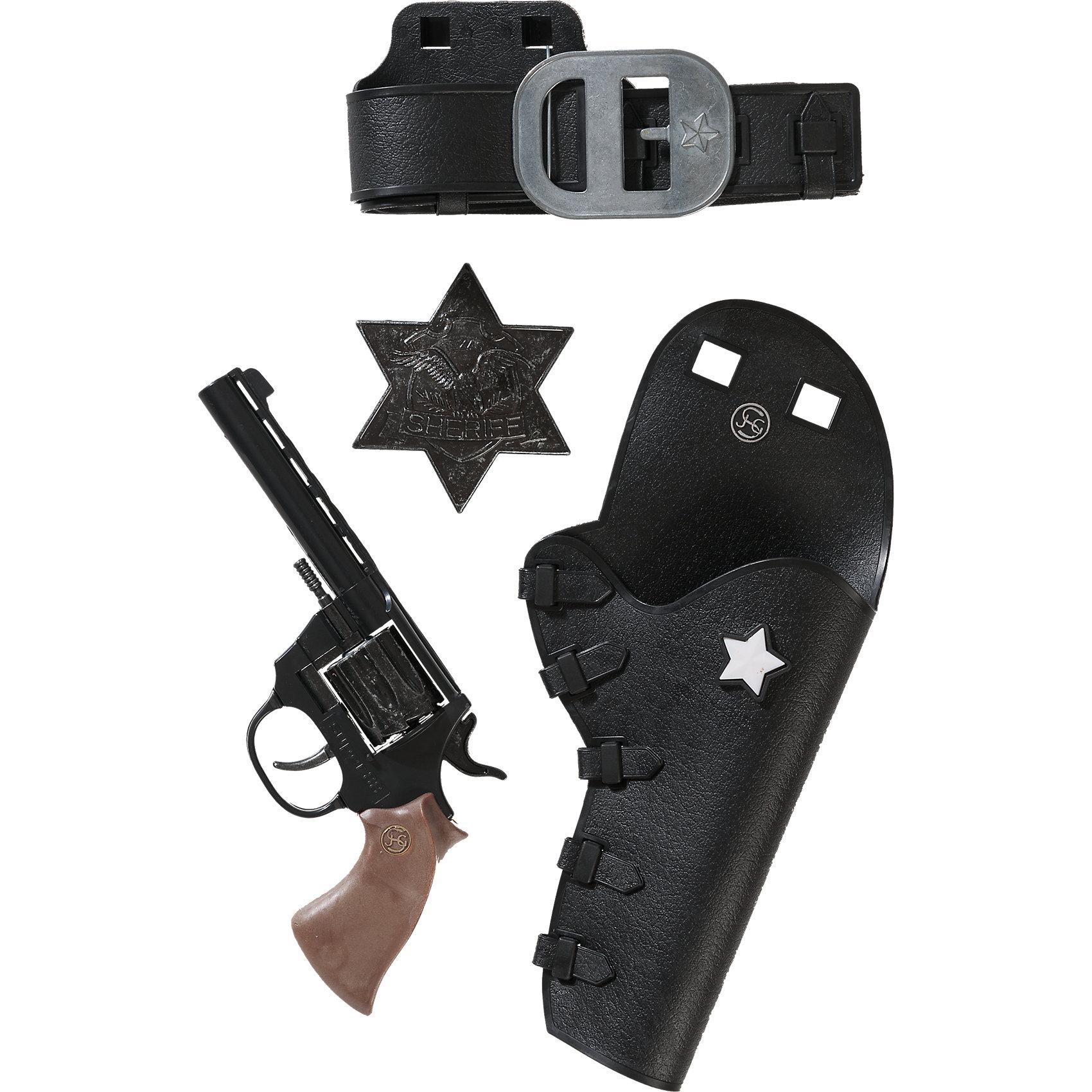 Набор Дикий Запад с пистолетом Super 88,  SchrodelНабор Дикий Запад с пистолетом Super 88,  Schrodel (Шрёдел) – этот игровой набор отличный подарок для вашего мальчика.<br>Дикий Запад — неспокойное место, и кто-то должен защищать местных жителей и прекрасных леди! Набор «Дикий запад с пистолетом Super 88 - это отличная возможность стать шерифом в маленьком американском городе. Любому мальчику этот набор будет по душе. Он создан немецким брендом Schrodel (Шрёдел), который специализируется на выпуске высококачественных пистолетов, ружей и винтовок для детей. Продукция немецкой компании Schrodel соответствует всем нормам безопасности и качества.<br><br>Дополнительная информация:<br><br>- В наборе: пистолет, кобура, ремень и звезда шерифа<br>- Ёмкость магазина: 8 зарядов<br>- Материал: металл, пластик<br>- Размер упаковки: 28х30х6 см.<br>- Пистоны приобретаются отдельно<br>- Внимание! Заранее внимательно изучите инструкцию и соблюдайте меры безопасности<br><br>Набор Дикий Запад с пистолетом Super 88,  Schrodel (Шрёдел) можно купить в нашем интернет-магазине.<br><br>Ширина мм: 308<br>Глубина мм: 279<br>Высота мм: 71<br>Вес г: 455<br>Возраст от месяцев: 72<br>Возраст до месяцев: 168<br>Пол: Мужской<br>Возраст: Детский<br>SKU: 3757109