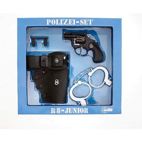 Набор Полиция с пистолетом R8,  SchrodelИгрушечное оружие<br>Набор Полиция с пистолетом R8,  Schrodel (Шрёдел) – этот игровой набор отличный подарок для вашего мальчика.<br>Этот впечатляющий набор придется по душе маленьким защитникам порядка. Набор «Полиция с пистолетом» поможет мальчикам в активных ролевых играх. Такие игры развивают мышление, логику и важные жизненные ценности и принципы: добро, справедливость, честность. Игровой пистолет, входящий в набор, имеет непревзойденное качество исполнения и великолепную детализацию, что делает его похожим на реальную модель. Рамка и щёчки рукоятки пистолета сделаны из пластика, а барабан, в который заряжаются 8-и зарядные пистоны, из металла. Во время выстрела будет раздаваться громкий хлопок, а небольшое количество дыма будет придавать игре еще большую реалистичность. Набор создан немецким брендом Schrodel (Шрёдел), который специализируется на выпуске высококачественных пистолетов, ружей и винтовок для детей. Все игрушки компании Schrodel выполнены из безопасных и качественных материалов.<br><br>Дополнительная информация:<br><br>- В наборе: полицейский револьвер, кобура для пистолета и наручники<br>- Размер пистолета: 12 см.<br>- Ёмкость магазина: 8 зарядов<br>- Материал: металл, пластик<br>- Размер упаковки: 28х30х6 см.<br>- Пистоны приобретаются отдельно<br>- Внимание! Заранее внимательно изучите инструкцию и соблюдайте меры безопасности<br><br>Набор Полиция с пистолетом R8,  Schrodel (Шрёдел) можно купить в нашем интернет-магазине.<br>Ширина мм: 295; Глубина мм: 280; Высота мм: 60; Вес г: 420; Возраст от месяцев: 72; Возраст до месяцев: 168; Пол: Мужской; Возраст: Детский; SKU: 3757113;