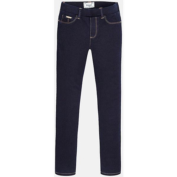 Леггинсы для девочки  MayoralЛеггинсы<br>Модные джинсовые леггинсы от популярного испанского бренда Mayoral (Майорал) для девочки. Изделие выполнено из высококачественного эластичного денима, приятного к телу, и обладает следующими особенностями:<br>- темно-синий цвет, потертости;<br>- регулируемый объем талии;<br>- эластичный пояс со шлевками для ремня;<br>- 3 кармана (1 впереди и 2 сзади) и 2 передних кармана-обманки;<br>- комфортный крой.<br><br>Состав: 68% хлопок, 30% полиэстер, 2% эластан<br><br>Леггинсы Mayoral (Майорал) можно купить в нашем магазине.<br><br>Ширина мм: 123<br>Глубина мм: 10<br>Высота мм: 149<br>Вес г: 209<br>Цвет: синий<br>Возраст от месяцев: 132<br>Возраст до месяцев: 144<br>Пол: Женский<br>Возраст: Детский<br>Размер: 134/140,158/164,158,164/170,128/134,146/152<br>SKU: 3758118