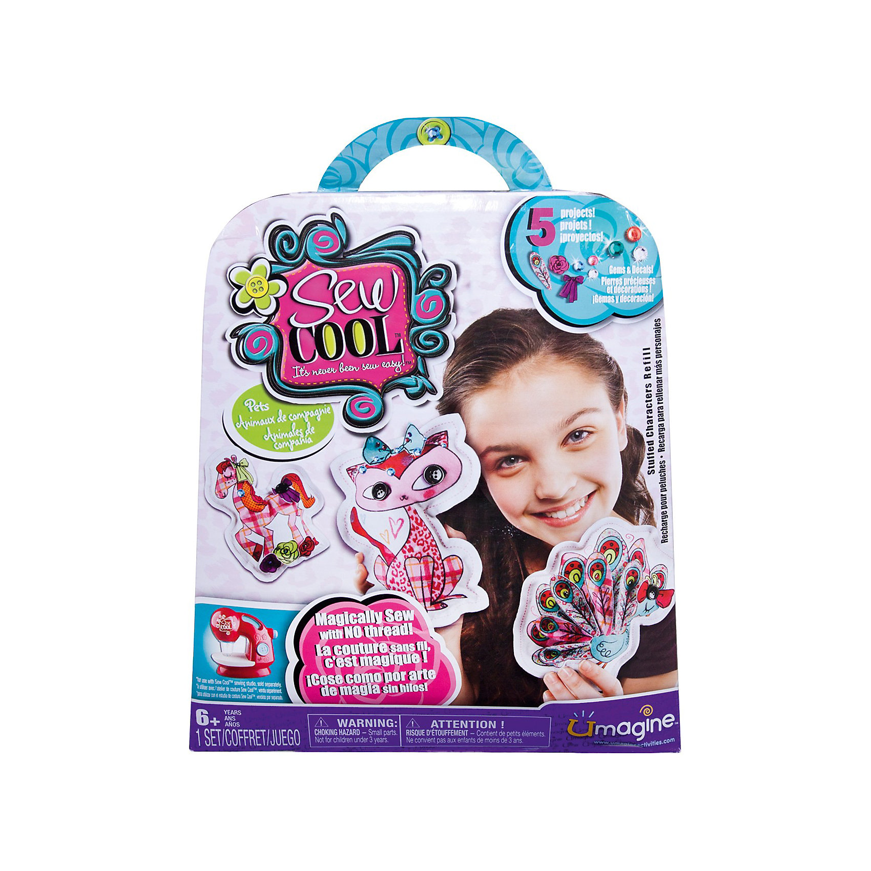 Набор для шитья, мягкие игрушки, Sew CoolНабор для шитья Мягкие игрушки, Sew Cool (Сью Кул) от Spin Master (Спинмастер) - увлекательный набор для творчества, который обязательно порадует юную рукодельницу. С помощью входящих в комплект кусочков ткани и различных деталей она сможет сшить множество ярких игрушек-подушек. Процесс изготовления не представляет больших сложностей, нужно лишь сшить кусочки ткани согласно инструкции, заполнить получившуюся подушечку ватином и украсить пуговками и аппликациями. <br><br>Дополнительная информация:<br><br>- В комплекте: 10 заготовок ткани (для 5 игрушек), 30 маленьких тканевых аппликаций (цветочки), 25 страз, ватин для наполнения игрушек, 8 пуговиц, инструкция.<br>- Материал: текстиль.<br>- Размер упаковки: 20 х 23 х 5 см.<br>- Вес: 0,24 кг.<br><br>Набор для шитья Мягкие игрушки, Sew Cool от Spin Master (Спин Мастер) можно купить в нашем интернет-магазине.<br><br>Ширина мм: 200<br>Глубина мм: 230<br>Высота мм: 50<br>Вес г: 240<br>Возраст от месяцев: 72<br>Возраст до месяцев: 120<br>Пол: Унисекс<br>Возраст: Детский<br>SKU: 3759669