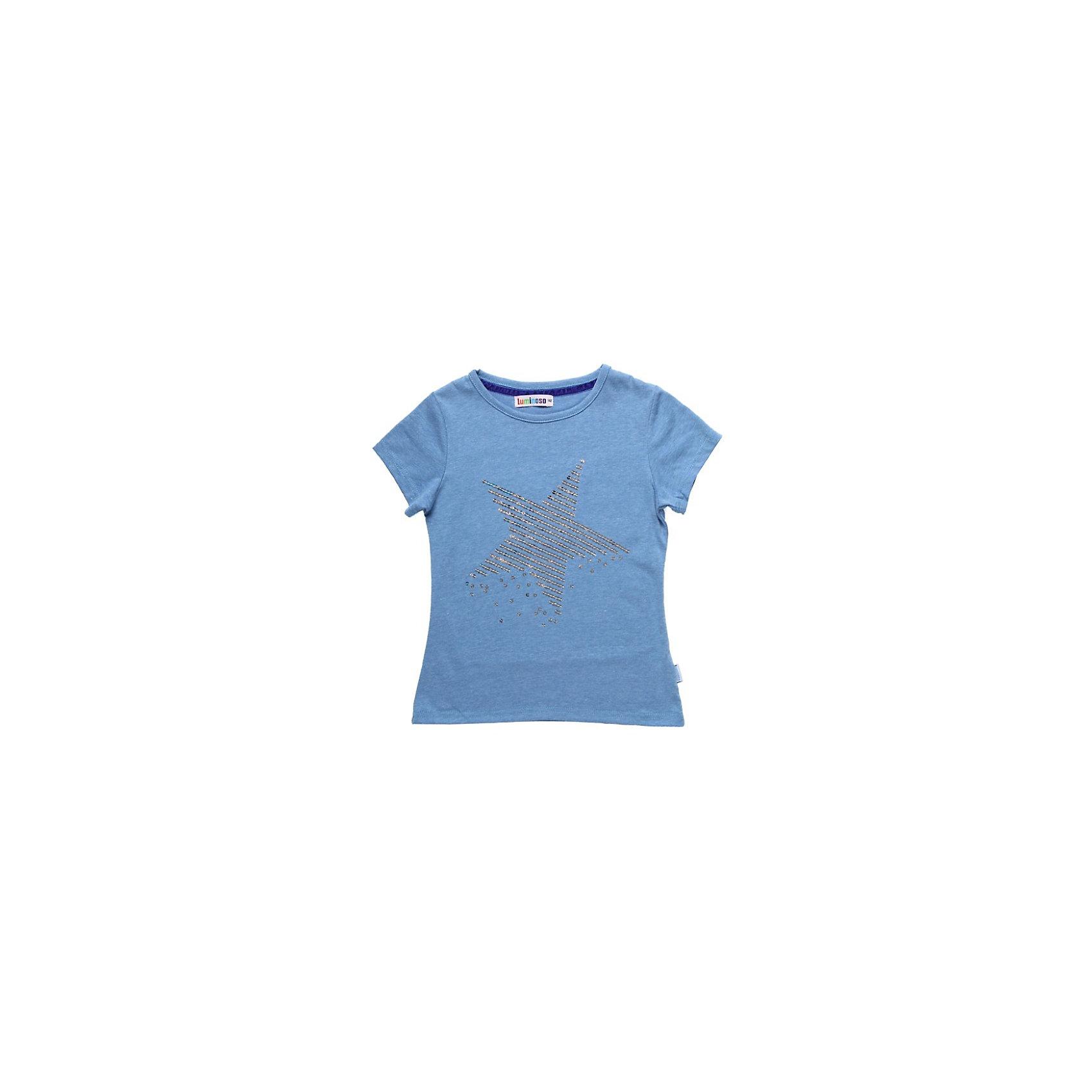 Футболка для девочки LuminosoМеланжевая футболка для девочки. Декорирована узором из пайеток ввиде звезды. Горловина украшена велюровой лентой.<br>Состав:<br>хлопок 95% эластан 5%<br><br>Ширина мм: 199<br>Глубина мм: 10<br>Высота мм: 161<br>Вес г: 151<br>Цвет: голубой<br>Возраст от месяцев: 156<br>Возраст до месяцев: 168<br>Пол: Женский<br>Возраст: Детский<br>Размер: 164<br>SKU: 3762043