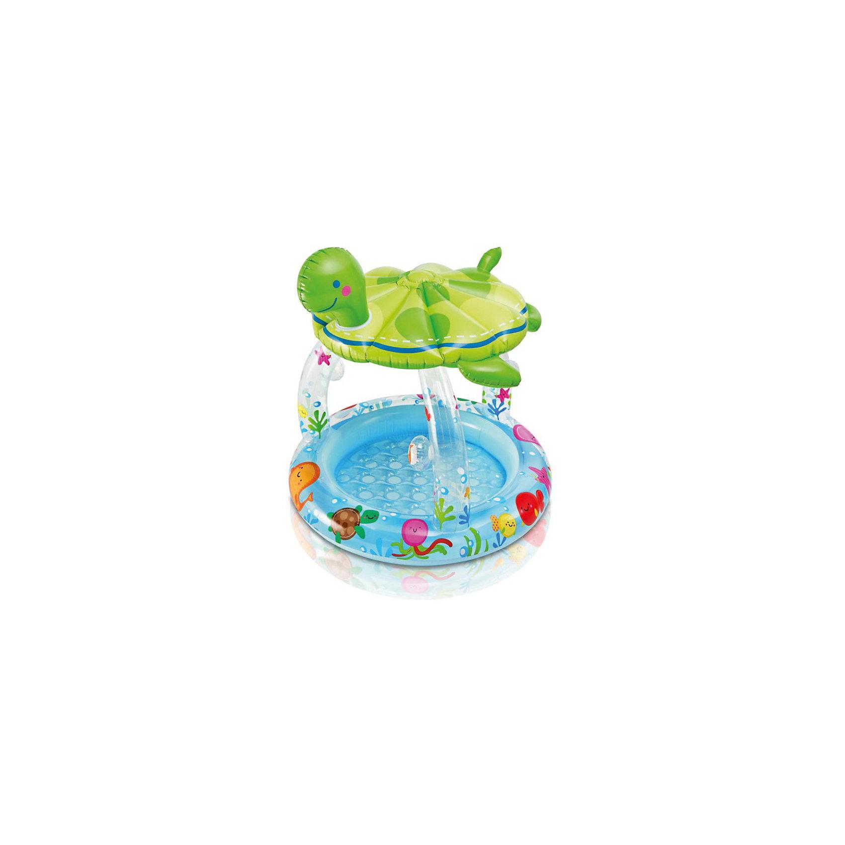 Бассейн с навесом Морская черепашка,  IntexКрасивый бассейн, выполненный в оригинальном дизайне и яркой цветовой гамме, обязательно понравится малышам. Бассейн имеет навес, который защитит ребенка от солнца. Изготовлен из  высококачественного материала, прочный, безопасный для детей. Бассейн можно использовать как на улице, так и в помещении, в качестве игрового домика для ребенка. <br><br>Дополнительная информация:<br><br>- Материал: ПВХ.<br>- Размер: 102х107 см.<br>- Объем: 50 литров.<br>- Цвет: зеленый, голубой.<br><br>Бассейн с навесом Морская черепашка,  Intex, можно купить в нашем магазине.<br><br>Ширина мм: 255<br>Глубина мм: 230<br>Высота мм: 94<br>Вес г: 1606<br>Возраст от месяцев: 12<br>Возраст до месяцев: 36<br>Пол: Унисекс<br>Возраст: Детский<br>SKU: 3763657