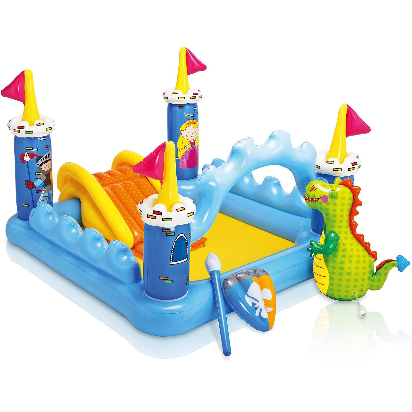 Детский игровой комплекс с бассейном Замок, IntexБассейны<br>Фантастический замок — это игровой центр, который будет радовать кроху зимой и летом. Яркий бассейн в виде замка с неприступными башенками с надёжным стражем драконом поможет внести разнообразие в будни малыша. <br><br>Летом на природе ребёнок может плескаться и радоваться брызгам, а зимой можно наполнить бассейн пластиковыми шариками и использовать его как игровой манеж. <br><br>Подсоедините садовый шланг к дракончику, и из него пойдут освежающие брызги. <br><br>Дополнительная информация:<br><br>Комплектация: <br>• бассейн, <br>•голова дракона, <br>• две надувных детали, <br>• переходник для накачивания, <br>• инструкция, <br>• ручка держетель.<br><br>Удобное выпускное отверстие, яркий дизайн.<br>Объём: 178 л.<br>Размер: 185,5?152?107 см.<br>Размер упаковки: 11?46?36 см.<br>Вес: 4,79 кг.<br><br>Десткий игровой бассейн Замок, Intex (Интекс) можно купить в нашем магазине.<br><br>Ширина мм: 460<br>Глубина мм: 363<br>Высота мм: 116<br>Вес г: 4811<br>Возраст от месяцев: 24<br>Возраст до месяцев: 72<br>Пол: Унисекс<br>Возраст: Детский<br>SKU: 3763658