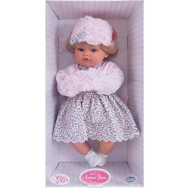Кукла Белла в розовом,  42 см, Munecas Antonio JuanКуклы<br>Кукла Белла в розовом,  42 см, JUAN ANTONIO munecas (ХУАН АНТОНИО мунекас) – это качественные игрушки из Испании, популярные во всем мире<br>Кукла Белла со светлыми волосами такая милая и очаровательная, что не оставит равнодушным ни ребенка, ни даже взрослого. Кукла Белла одета в пестрое платье, кофточку в руках у нее манто. На голове у куклы теплая шапочка. «Маленькая мама» без опаски может брать малышку на прогулку. О Белле надо заботиться, потому что она плачет, если ей вовремя не дать соску. Тельце у куклы мягко-набивное, голова, ручки и ножки сделаны из мягкого качественного винила. Ручки и ножки подвижны. Образы малышей Мунекас разработаны известными европейскими дизайнерами. Они натуралистичны, анатомически точны, копируют настоящих младенцев. Макеты кукол слеплены вручную, поэтому у каждой из моделей индивидуальные черты лица, которые вместе с нарядом и аксессуарами составляют уникальный и неповторимый образ.<br><br>Дополнительная информация:<br><br>- В комплекте: кукла, соска<br>- Интерактивные функции куклы: выньте соску - кукла заплачет, вставьте соску в ротик - кукла замолчит<br>- Глаза куклы не закрываются<br>- Высоты куклы: 42 см.<br>- Работает от 3-х батареек LR44 (таблетки) (батарейки входят в комплект)<br>- После покупки игрушки перед игрой куклу необходимо активировать, вынув защитную полоску из механизма с батарейками<br><br>Куклу Белла в розовом,  42 см, JUAN ANTONIO munecas (ХУАН АНТОНИО мунекас) можно купить в нашем интернет-магазине.<br><br>Ширина мм: 150<br>Глубина мм: 305<br>Высота мм: 420<br>Вес г: 2100<br>Возраст от месяцев: 36<br>Возраст до месяцев: 72<br>Пол: Женский<br>Возраст: Детский<br>SKU: 3763712