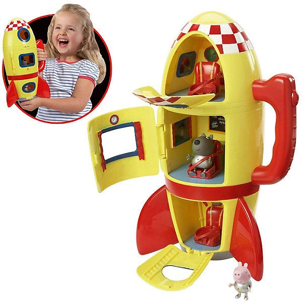 Игровой набор Космический корабль Пеппы, Свинка ПеппаСамолёты и вертолёты<br>Игровой набор Космический корабль Пеппы, Свинка Пеппа (Peppa Pig) сделает игру с героями любимого мультфильма еще более увлекательной. <br>Джордж и его друг щенок Дэни, надев скафандры металлического цвета, отправляются в межгалактическое путешествие на трехъярусном космическом корабле. В каждом из трех отсеков ракеты находятся сидения, оборудованные ремнями безопасности, которые не дадут космонавтам выпасть во время полета. Все отделения летательного аппарата имеют собственный вход с закрывающейся дверью и иллюминатором. В космической ракете установлены бортовые приборы и доска с мелом. В таком надежном корабле отважным героям не страшны никакие трудности!<br><br>Дополнительная информация:<br><br>В комплекте: <br>- космический корабль в виде ракеты со звуковыми эффектами (реалистичные звуки взлетающей ракеты), оборудованный удобной ручкой для переноски; <br>- фигурки волчонка Дэни (5 см) и Джорджа (4 см), которые могут сидеть, стоять, двигать ручками и ножками. <br><br>- Материал: безопасный пластик.<br>- Корабль работает от 3 батареек типа АА (в набор не входят).<br>- Размер упаковки: 22 х 17 х 32 см<br>- Вес набора с упаковкой: 900 г<br><br>Игровой набор Космический корабль Пеппы, Свинка Пеппа (Пеппа Пиг) можно купить в нашем магазине.<br><br>Ширина мм: 262<br>Глубина мм: 352<br>Высота мм: 190<br>Вес г: 953<br>Возраст от месяцев: 36<br>Возраст до месяцев: 60<br>Пол: Унисекс<br>Возраст: Детский<br>SKU: 3763729