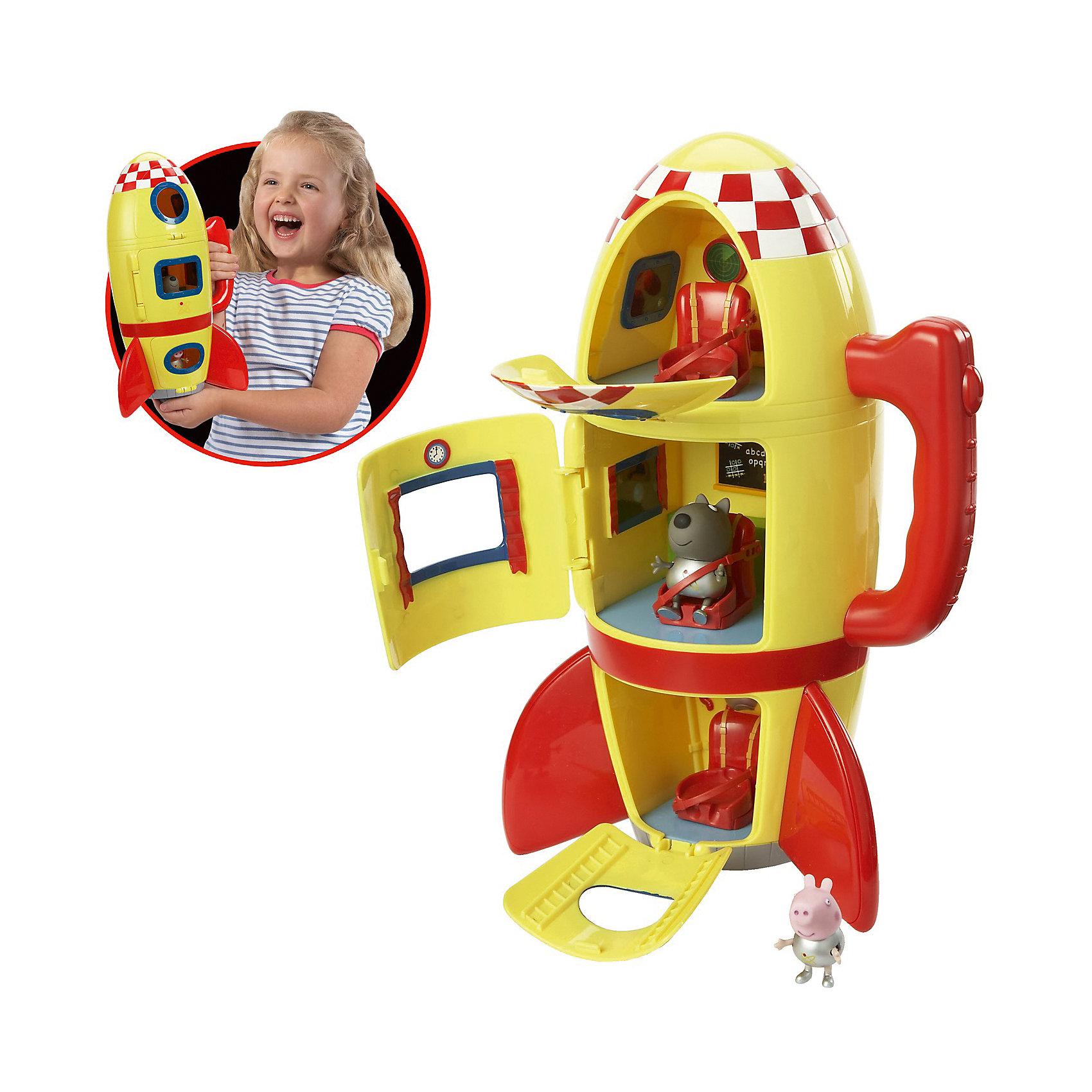 Игровой набор Космический корабль Пеппы, Свинка ПеппаИдеи подарков<br>Игровой набор Космический корабль Пеппы, Свинка Пеппа (Peppa Pig) сделает игру с героями любимого мультфильма еще более увлекательной. <br>Джордж и его друг щенок Дэни, надев скафандры металлического цвета, отправляются в межгалактическое путешествие на трехъярусном космическом корабле. В каждом из трех отсеков ракеты находятся сидения, оборудованные ремнями безопасности, которые не дадут космонавтам выпасть во время полета. Все отделения летательного аппарата имеют собственный вход с закрывающейся дверью и иллюминатором. В космической ракете установлены бортовые приборы и доска с мелом. В таком надежном корабле отважным героям не страшны никакие трудности!&#13;<br>&#13;<br>Дополнительная информация:<br><br>В комплекте: <br>- космический корабль в виде ракеты со звуковыми эффектами (реалистичные звуки взлетающей ракеты), оборудованный удобной ручкой для переноски; <br>- фигурки волчонка Дэни (5 см) и Джорджа (4 см), которые могут сидеть, стоять, двигать ручками и ножками. <br><br>- Материал: безопасный пластик.<br>- Корабль работает от 3 батареек типа АА (в набор не входят).<br>- Размер упаковки: 22 х 17 х 32 см<br>- Вес набора с упаковкой: 900 г<br><br>Игровой набор Космический корабль Пеппы, Свинка Пеппа (Пеппа Пиг) можно купить в нашем магазине.<br><br>Ширина мм: 262<br>Глубина мм: 352<br>Высота мм: 190<br>Вес г: 953<br>Возраст от месяцев: 36<br>Возраст до месяцев: 60<br>Пол: Унисекс<br>Возраст: Детский<br>SKU: 3763729