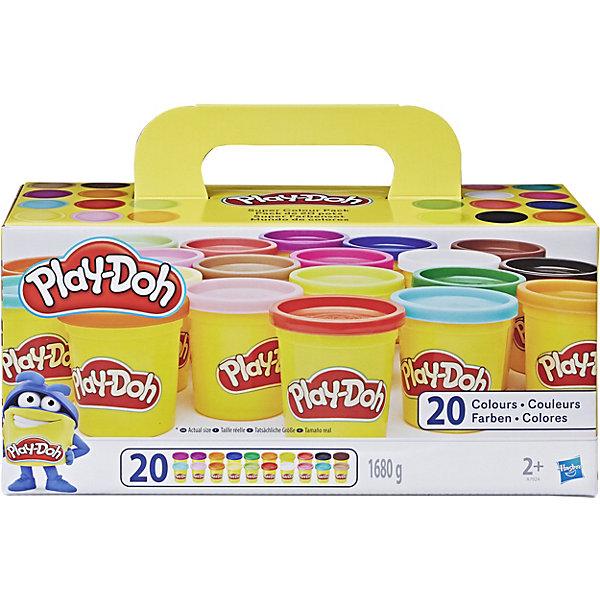 Набор пластилина из 20 баночек, Play-DohНаборы для лепки<br>Набор яркого и мягкого пластилина из 20 баночек, Play-Doh (Плэй-До) понравится любому ребенку, который любит лепить, и будет способствовать развитию его мелкой моторики и творческих навыков! С помощью этого набора Ваш малыш сможет проявить свою фантазию, ведь из широкой палитры цветов можно создать красочное панно, фигурки животных, людей и другие поделки. Кроме того, пластилин Плэй-До абсолютно безвреден для Вашего ребенка, поскольку сделан из натуральных ингредиентов на основе пшеницы и безопасных красителей!<br><br>Характеристики:<br>-Пластичен, податлив<br>-Не липнет к рукам, не оставляет пятен на поверхностях<br>-Быстро затвердевает на воздухе, но размягчается при добавлении воды<br>-Не имеет запаха<br>-Натуральные ингредиенты на основе пшеницы, безопасные красители без химических веществ<br>-Развивает: мелкую моторику, цветовосприятие, творческие навыки, фантазию<br> <br>Комплектация: 20 баночек разноцветного пластилина по 84 г каждая<br><br>Дополнительная информация:<br>-Вес одной баночки: 84 г  <br>-Материалы: пластилин на основе пищевых ингредиентов (пшеница), красители, пластик<br><br>Набора из 20 баночек разноцветного пластилина хватит на всех, он идеально подойдет для любого детского праздника и в качестве подарка – малыши будут с удовольствием лепить, развивая воображение, моторику рук, творческие навыки! <br><br>Набор пластилина из 20 баночек, Play-Doh (Плэй-До) можно купить в нашем магазине.<br>Ширина мм: 300; Глубина мм: 142; Высота мм: 124; Вес г: 2128; Возраст от месяцев: 24; Возраст до месяцев: 60; Пол: Унисекс; Возраст: Детский; SKU: 3766230;