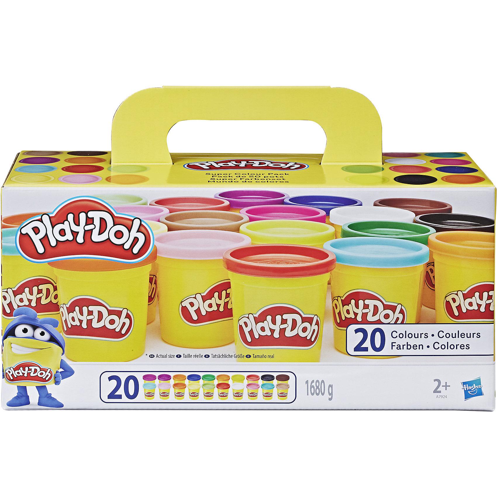 Набор пластилина из 20 баночек, Play-DohИдеи подарков<br>Набор яркого и мягкого пластилина из 20 баночек, Play-Doh (Плэй-До) понравится любому ребенку, который любит лепить, и будет способствовать развитию его мелкой моторики и творческих навыков! С помощью этого набора Ваш малыш сможет проявить свою фантазию, ведь из широкой палитры цветов можно создать красочное панно, фигурки животных, людей и другие поделки. Кроме того, пластилин Плэй-До абсолютно безвреден для Вашего ребенка, поскольку сделан из натуральных ингредиентов на основе пшеницы и безопасных красителей!<br><br>Характеристики:<br>-Пластичен, податлив<br>-Не липнет к рукам, не оставляет пятен на поверхностях<br>-Быстро затвердевает на воздухе, но размягчается при добавлении воды<br>-Не имеет запаха<br>-Натуральные ингредиенты на основе пшеницы, безопасные красители без химических веществ<br>-Развивает: мелкую моторику, цветовосприятие, творческие навыки, фантазию<br> <br>Комплектация: 20 баночек разноцветного пластилина по 84 г каждая<br><br>Дополнительная информация:<br>-Вес одной баночки: 84 г  <br>-Материалы: пластилин на основе пищевых ингредиентов (пшеница), красители, пластик<br><br>Набора из 20 баночек разноцветного пластилина хватит на всех, он идеально подойдет для любого детского праздника и в качестве подарка – малыши будут с удовольствием лепить, развивая воображение, моторику рук, творческие навыки! <br><br>Набор пластилина из 20 баночек, Play-Doh (Плэй-До) можно купить в нашем магазине.<br><br>Ширина мм: 298<br>Глубина мм: 124<br>Высота мм: 144<br>Вес г: 2128<br>Возраст от месяцев: 24<br>Возраст до месяцев: 60<br>Пол: Унисекс<br>Возраст: Детский<br>SKU: 3766230