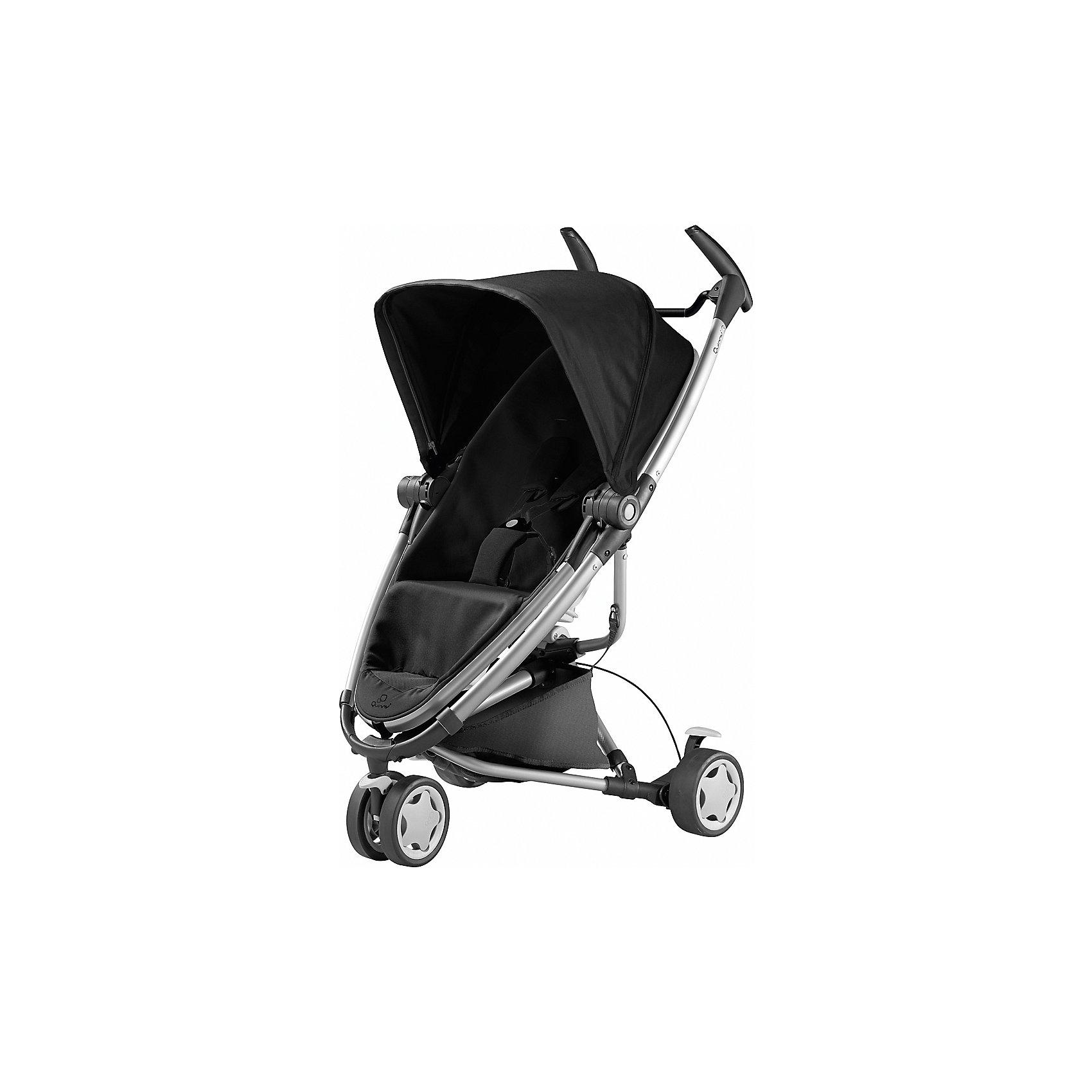 Коляска-трость Zapp Xtra 2, Quinny, rocking blackКоляска-трость Запп (Zapp) Xtra 2, Quinny (Квини) - легкая современная прогулочная коляска, которая отвечает всем требованиям комфорта и безопасности малыша. Современный дизайн, легкость управления и маневренность делают ее идеальной для использования в любой ситуации. Коляска оснащена удобным для ребенка сиденьем с мягкими 5-точечными ремнями безопасности. Спинка легко раскладывается в 3 положениях, вплоть до горизонтального. Съемный регулируемый капюшон со смотровым окошком защитит от солнца и дождя. Прогулочный блок устанавливается как по ходу движения коляски так и наоборот. Для родителей предусмотрены удобные ручки и вместительная съемная корзина для принадлежностей малыша.<br><br>Коляска оснащена 3 съемными колесами: сдвоенное переднее поворачивается на 360? и фиксируется, 2 задних колеса со стояночной тормозной системой. Коляска легко и компактно складывается, что позволяет использовать ее во время поездок и путешествий. Тканевая обивка из прочных водо- и грязеотталкивающих материалов легко снимается и чистится, допустима стирка при температуре воды 30? С. Есть возможность установки на раму автокресел Maxi-Cosi Cabrio Fix, Citi и Pebble группы 0+ (приобретаются отдельно). Подходит для детей от 6 мес. до 4 лет, максимальный вес - 15 кг.<br><br>Дополнительная информация:<br><br>- удобна для транспортировки и хранения;<br>- капюшон от солнца и дождя;<br>- регулировка наклона спинки;<br>- сиденье коляски может быть расположено как по ходу движения, так и лицом к маме;<br>- съемная корзина для вещей ребенка;<br>- светоотражающие элементы на обшивке;<br>- переднее плавающее колесо с фиксатором, 2 задних колеса со стояночной тормозной системой;<br>- сочетается с детскими автокреслами Maxi-Cosi Cabrio Fix, Citi и Pebble группы 0+;<br>- легко и компактно складывается тростью.<br>- В комплекте: прогулочный блок, шасси, дождевик.<br>- Цвет: rocking black<br>- Материал: текстиль, алюминий, пластик.<br>- Диаметр колес: 15 с