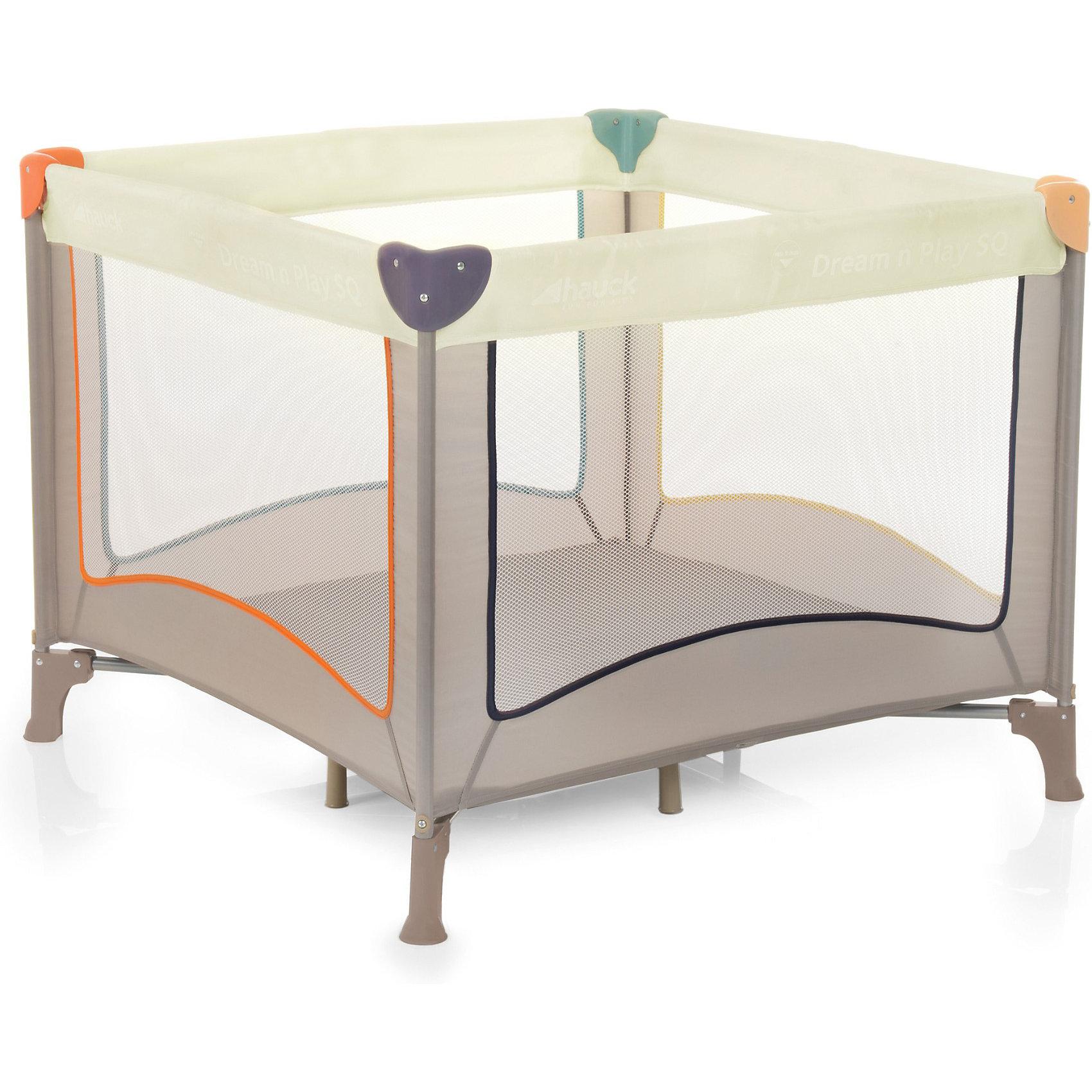 Манеж Dream`n Play Square, Hauck, multicolor beigeМанежи-кроватки<br>Манеж hauck Dreamn Play Square - для детей с 0 до 4 лет. Имеет квадратную форму, просторный.<br>Специальные двойные замки безопасности предохраняют hauck Dreamn Play от случайного складывания. Легкая система складывания по принципу зонтика, позволяет очень быстро сложить и разложить манеж.<br>Для дополнительной устойчивости и безопасности ребенка предусмотрены дополнительные центральные ножки.<br>Мягкие, прозрачные боковые стенки свободно пропускают воздух и позволяют не только присматривать за ребенком, но и позволяют Вашему малышу не чувствовать себя одиноким.<br><br>Вес: 13 кг.<br>Размеры внутренние (ДхШхВ): 96х96 см.<br>Размеры внешние (ДхШхВ):103 x 103 x 74,5 см.<br>С рождения до 15 кг.<br><br>В комплекте: складной коврик, сумка-чехол с ручками для удобной транспортировки.<br><br>Ширина мм: 885<br>Глубина мм: 198<br>Высота мм: 219<br>Вес г: 10000<br>Цвет: бежевый<br>Возраст от месяцев: 0<br>Возраст до месяцев: 36<br>Пол: Унисекс<br>Возраст: Детский<br>SKU: 3768813