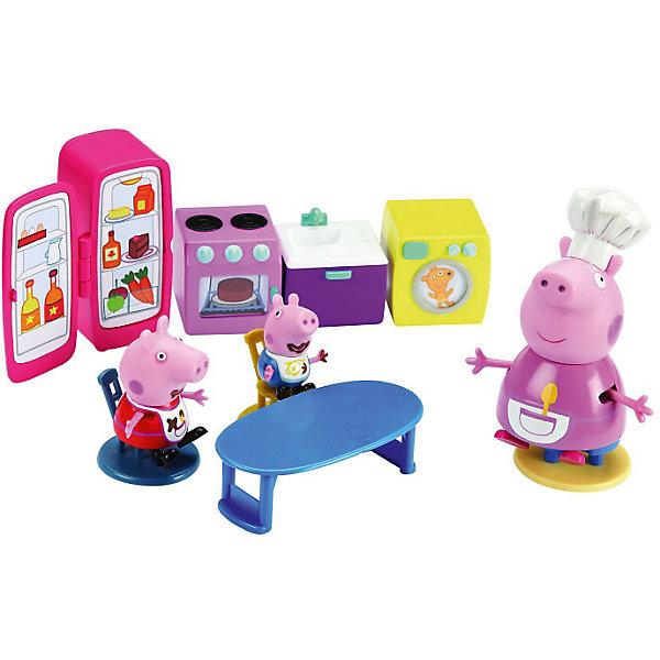 Игровой набор Кухня Пеппы, Свинка ПеппаИгрушки<br>Игровой набор Кухня Пеппы, Свинка Пеппа (Peppa Pig) – это как раз то, что нужно девочке, чтобы окунуться в мир кулинарии вместе с любимыми героями. Каждая ручка у «бытовой техники», кран, конфорки – выпуклые, объемные и окрашены в яркие цвета. На декоративной «дверке» духовки, на окошке стиральной машинки и на холодильнике – наклейки. Саму коробочку, если с нее аккуратно снять блистер, можно использовать в качестве игрового поля: на ее внутреннюю сторону нанесены рисунки, изображающие кухонный интерьер. И у Пеппы, и у Джорджа фартуки и ротики разрисованы так, будто свинки перепачкались в шоколаде. <br>Набор качественно выполнен, детали реалистичны, игрушки маленькие – как раз для маленькой детской ручки.<br><br>Дополнительная информация:<br><br>- В наборе: Пеппа (5 см), Джордж (4 см), их бабушка, стол, 3 стула, мойка, плита, стиральная машина, холодильник. <br>- Игрушки устойчивые: фигурки умеют сидеть, стоять, двигать ручками и ножками.<br>- Детали изготовлены из безопасного пластика. <br>- Размер упаковки: 14 х 28 х 10 см<br>- Вес с упаковкой: 330 г<br><br>Игровой набор Кухня Пеппы, Свинка Пеппа (Пеппа Пиг) можно купить в нашем магазине.<br><br>Ширина мм: 135<br>Глубина мм: 280<br>Высота мм: 105<br>Вес г: 330<br>Возраст от месяцев: 36<br>Возраст до месяцев: 72<br>Пол: Унисекс<br>Возраст: Детский<br>SKU: 3770358