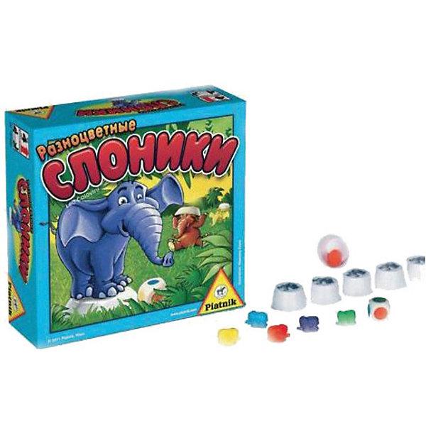 Игра Разноцветные слоники, PiatnikИгры мемо<br>Игра Разноцветные слоники, Piatnik  –  это очень простая и увлекательная игра, которая тренирует память.<br>Яркие разноцветные слоники принесут малышам массу положительных эмоций, хорошего настроения и смеха. Игра предназначена для развития памяти, в том числе визуальной, у детей. Цель игры – найти слоника соответствующего цвета. Веселые разноцветные слоники решили поиграть в прятки – они прячутся под специальными колпачками. Задача игроков, запомнить, какой слоник под каким колпачком спрятался, чтобы во время своего хода быстро его отыскать. Игральный кубик покажет цвет слоника, которого нужно найти. Выиграет тот игрок, который будет лучше всех находить разноцветных слоников. Все компоненты игры выполнены из безопасных материалов, что позволяет играть даже самым маленьким игрокам.<br><br>Дополнительная информация:<br><br>- Количество игроков: от 2 до 5 человек<br>- Среднее время игры: 10 мин.<br>- В комплекте: 42 слоника, 22 колпачка, листок с наклейками, игральный кубик, правила игры<br>- Материал: пластик, бумага<br>- Размер упаковки: 16,5х16,5х6 см.<br>- Вес: 375 гр.<br><br>Игру Разноцветные слоники, Piatnik можно купить в нашем интернет-магазине.<br><br>Ширина мм: 55<br>Глубина мм: 165<br>Высота мм: 165<br>Вес г: 375<br>Возраст от месяцев: 48<br>Возраст до месяцев: 96<br>Пол: Унисекс<br>Возраст: Детский<br>SKU: 3770903