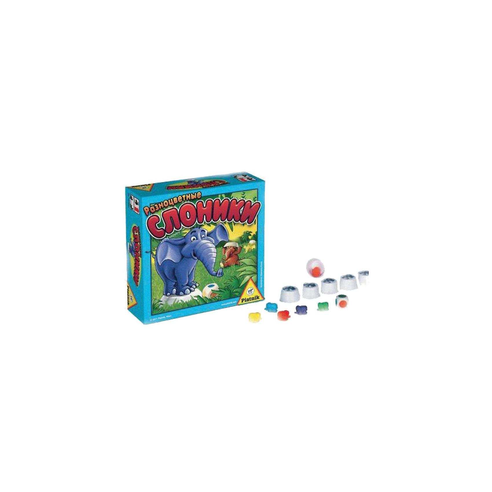 Игра Разноцветные слоники, PiatnikИгра Разноцветные слоники, Piatnik  –  это очень простая и увлекательная игра, которая тренирует память.<br>Яркие разноцветные слоники принесут малышам массу положительных эмоций, хорошего настроения и смеха. Игра предназначена для развития памяти, в том числе визуальной, у детей. Цель игры – найти слоника соответствующего цвета. Веселые разноцветные слоники решили поиграть в прятки – они прячутся под специальными колпачками. Задача игроков, запомнить, какой слоник под каким колпачком спрятался, чтобы во время своего хода быстро его отыскать. Игральный кубик покажет цвет слоника, которого нужно найти. Выиграет тот игрок, который будет лучше всех находить разноцветных слоников. Все компоненты игры выполнены из безопасных материалов, что позволяет играть даже самым маленьким игрокам.<br><br>Дополнительная информация:<br><br>- Количество игроков: от 2 до 5 человек<br>- Среднее время игры: 10 мин.<br>- В комплекте: 42 слоника, 22 колпачка, листок с наклейками, игральный кубик, правила игры<br>- Материал: пластик, бумага<br>- Размер упаковки: 16,5х16,5х6 см.<br>- Вес: 375 гр.<br><br>Игру Разноцветные слоники, Piatnik можно купить в нашем интернет-магазине.<br><br>Ширина мм: 55<br>Глубина мм: 165<br>Высота мм: 165<br>Вес г: 375<br>Возраст от месяцев: 48<br>Возраст до месяцев: 96<br>Пол: Унисекс<br>Возраст: Детский<br>SKU: 3770903